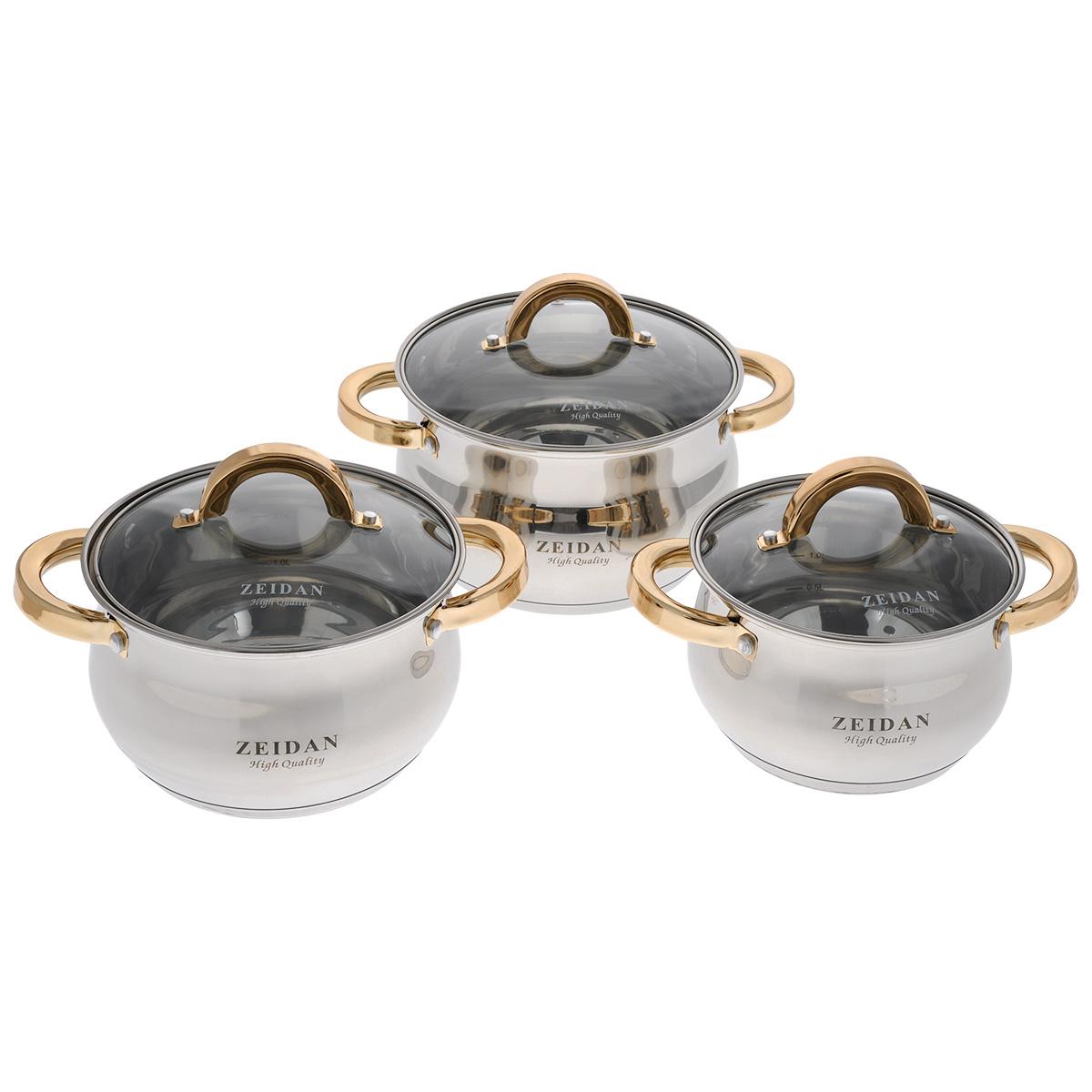Набор посуды Zeidan, 6 предметов. Z-50605Z-50605Набор посуды Zeidan состоит из трех кастрюль с крышками. Изделия выполнены из высококачественной нержавеющей стали. Зеркальная полировка придает посуде безупречный внешний вид, увеличивает срок службы и облегчает мытье. Нержавеющая сталь отличается высокой экологической чистотой и долговечностью, устойчива к воздействию пищевых кислот, не образует соединений с компонентами пищи. Пятислойное капсулированное дно подходит для всех видов плит, отлично аккумулирует тепло и равномерно распределяет его по поверхности во время приготовления пищи. Эргономичные прочные ручки выполнены из хромоникелевой стали, способ крепления - заклепки. Жаропрочные стеклянные крышки плотно прилегают к краям посуды, сохраняя аромат и вкус блюд, при этом можно наблюдать за готовностью пищи без потери тепла. Внутри имеются отметки литража. Кастрюли подходят для всех типов плит, включая индукционные. Можно мыть в посудомоечной машине. Объем кастрюль: 2,1 л, 3 л, 4 л. Диаметр кастрюль (по верхнему краю): 16 см, 18 см, 20 см. Высота стенок: 10,5 см, 11,5 см, 12,5 см. Ширина кастрюль (с учетом ручек): 28 см, 30 см, 32,5 см. Диаметр дна кастрюль: 13,5 см, 15,5 см, 17,5 см. Толщина стенки: 2 мм. Толщина дна: 3 мм.