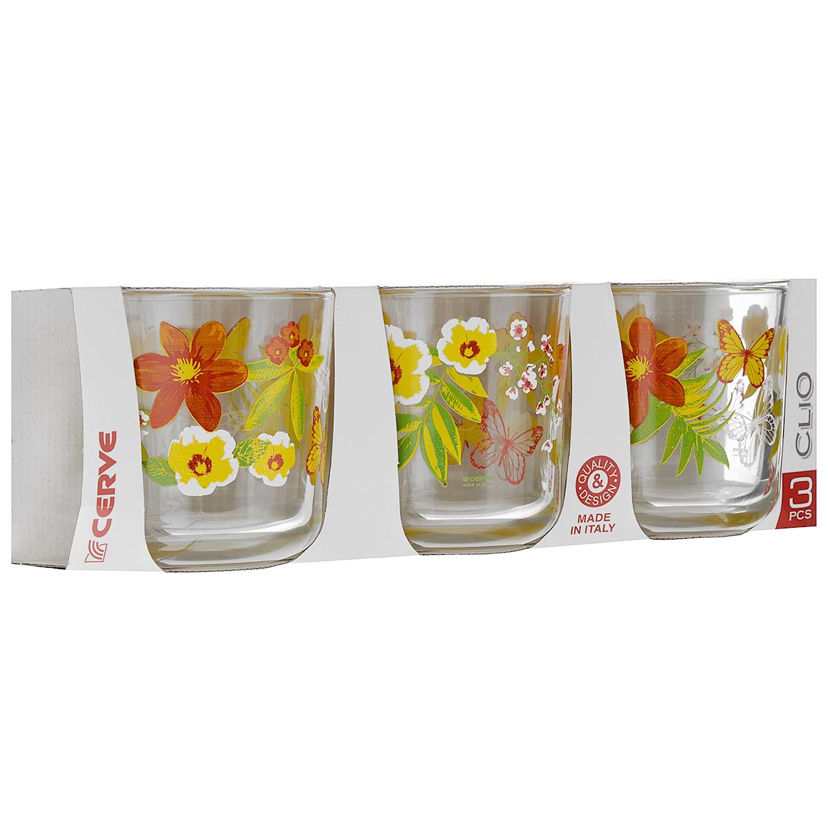 Набор стаканов Cerve Мираж, 280 мл, 3 штCEM50740Набор Cerve Мираж состоит из 3 стаканов, изготовленных из высококачественного стекла. Изделия оформлены изображениями цветов. Такой набор идеально подойдет для сервировки стола и станет отличным подарком к любому празднику. Разрешается мыть в посудомоечной машине. Диаметр стакана (по верхнему краю): 8 см. Высота стакана: 8,5 см.