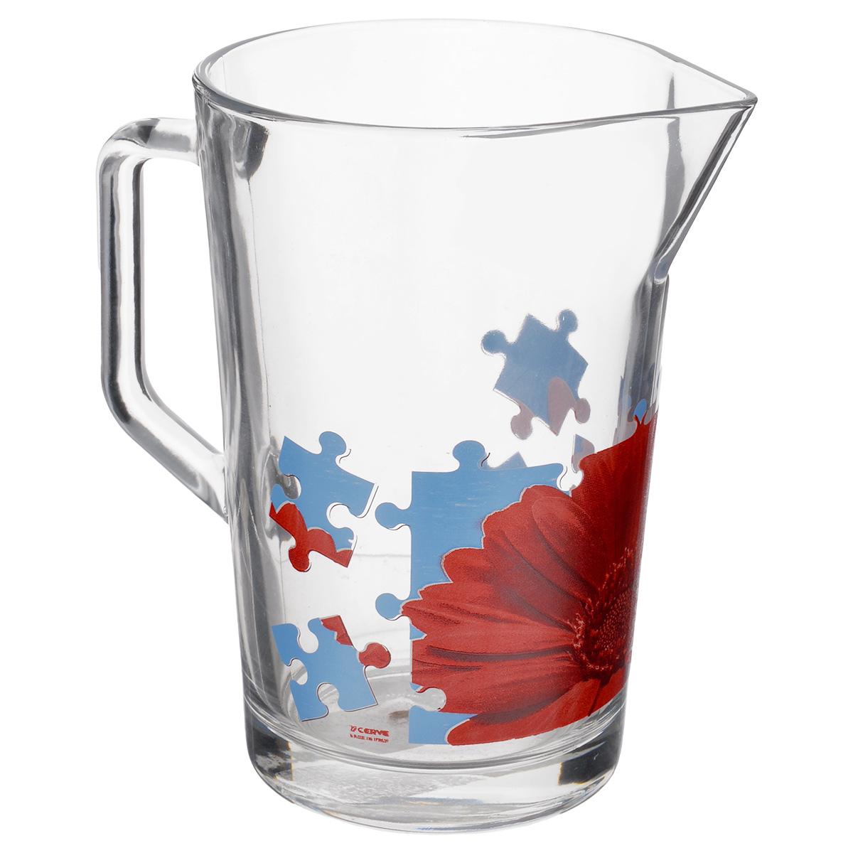 Кувшин Cerve Пазл Гербера, 1,3 лCEM42280Кувшин Cerve Пазл Гербера, выполненный из высококачественного стекла, оформлен изображением герберы в виде пазла. Он оснащен удобной ручкой и прост в использовании,достаточно просто наклонить его и налить ваш любимый напиток. Изделие прекрасно подойдет для подачи воды, сока, компота и других напитков. Кувшин Cerve Пазл Гербера дополнит интерьер вашей кухни и станет замечательным подарком к любому празднику.Диаметр (по верхнему краю): 11,5 см.Высота кувшина: 18 см.