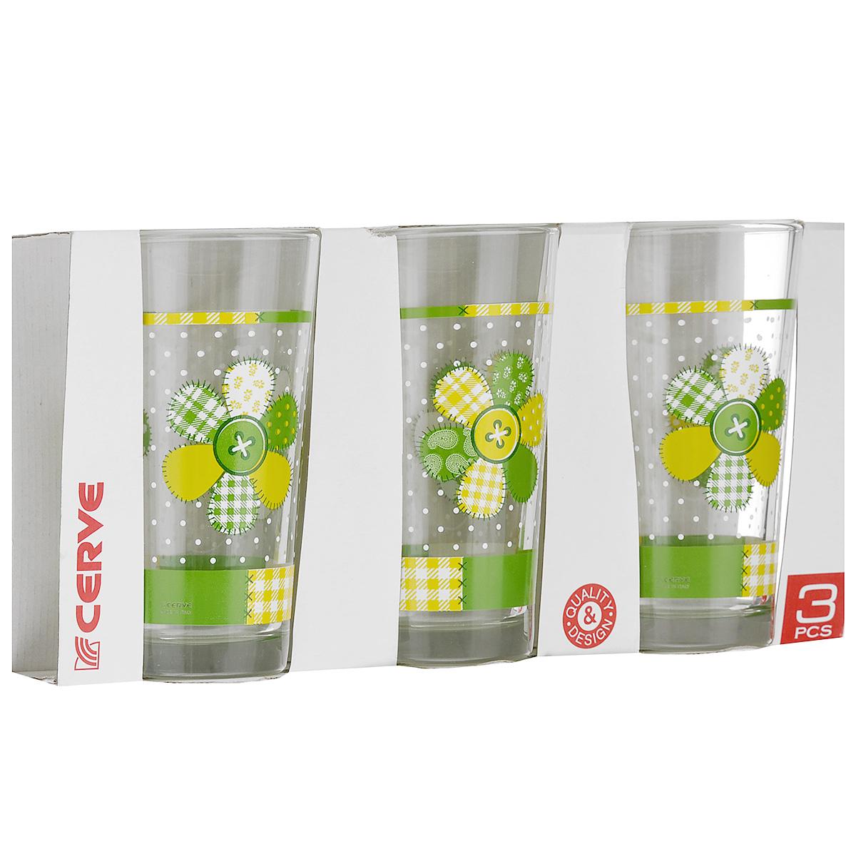 Набор стаканов Cerve Лотос, 250 мл, 3 штCED25220Набор Cerve Лотос состоит из 3 стаканов, изготовленных из высококачественного стекла. Изделия оформлены изображениями цветов. Такой набор идеально подойдет для сервировки стола и станет отличным подарком к любому празднику. Разрешается мыть в посудомоечной машине. Диаметр стакана (по верхнему краю): 5,5 см. Высота стакана: 12 см.