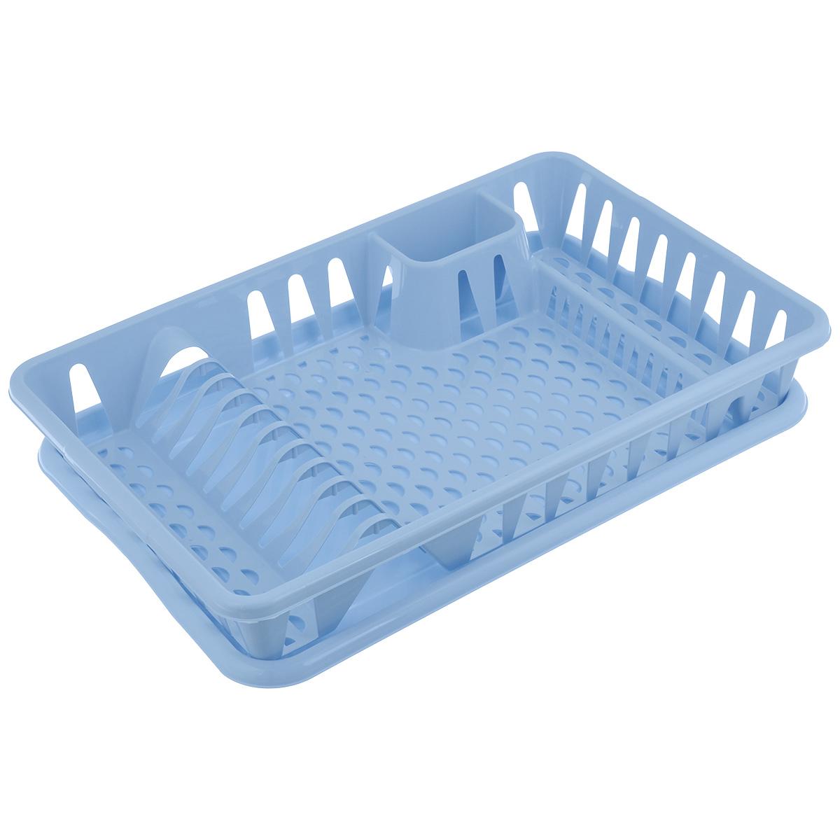 Сушилка для посуды Idea, с поддоном, цвет: голубой, 50 см х 32,5 см х 8 смМ 1169Сушилка Idea, выполненная из прочного пластика, представляет собой решетку с ячейками, в которые помещается посуда: тарелки, кружки, ложки, ножи. Изделие оснащено пластиковым поддоном для стекания воды. Сушилку можно установить в любом удобном месте. На ней можно разместить большое количество предметов. Вместительные размеры и оригинальный дизайн выделяют эту сушку из ряда подобных.Размер сушилки: 46,5 см х 37 см х 9 см. Размер поддона: 48,5см х 32 см х 2,5 см.