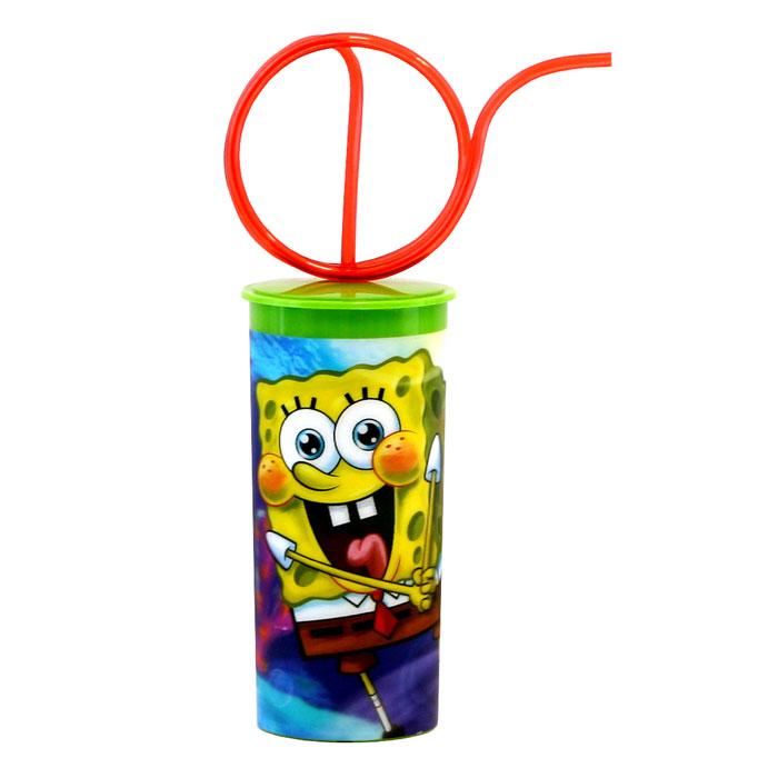 Губка Боб Стакан 3D, с крышкой и витой трубочкой, цвет: зеленый, 330 мл стакан пластиковый с соломинкой и крышкой спортивный 430 мл человек паук 2017 stor