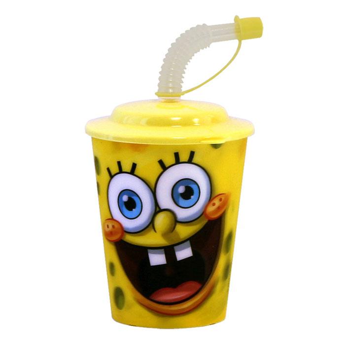 Губка Боб Стакан 3D, с крышкой и трубочкой, цвет: желтый, 400 мл10 255 065Стакан Губка Боб с 3D рисунком выполнен из высококачественного полипропилена, что очень удобно и безопасно для детей, так как этот материал не бьется. Внешние стенки оформлены объемным изображением героев мультсериала Губка Боб. Стакан плотно закрывается крышкой с отверстием в центре для толстой гофрированной соломинки. Для трубочки предусмотрен специальный колпачок, что исключает попадание пыли и грязи в содержимое стакана. Теперь пить любимые напитки из такого стаканчика станет еще вкуснее.