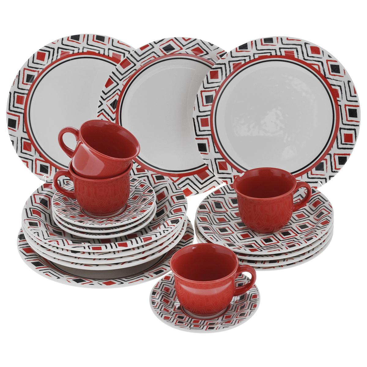 Набор столовый Biona Marajo, 20 предметов6752MARAJO-5Столовый набор Biona Marajo состоит из 4 обеденных тарелок, 4 суповых тарелок, 4 десертных тарелок, 4 блюдец и 4 кружек. Изделия выполнены из высококачественной экологически чистой керамики, которая изготавливается путем спекания глин с минеральными добавками. В качестве покрытия используется глазурь, что подтверждено сертификатами качества и соответствует всем международным санитарным нормам. Изделия оформлены красивым геометричным рисунком, который наносится исключительно вручную. Еще одной особенностью марки является использование экологически чистой упаковки - эксклюзивный деревянный ящик с соломой внутри. Посуда легко моется в посудомоечных машинах, термостойкая (пищу можно подогреть в микроволновой печи, в духовом шкафу). Диаметр обеденной тарелки: 26 см. Диаметр суповой тарелки: 23 см. Диаметр десертной тарелки: 20 см. Диаметр блюдца: 15 см. Объем чашки: 200 мл. Диаметр чашки (по верхнему краю): 9 см. Высота чашки: 7 см.