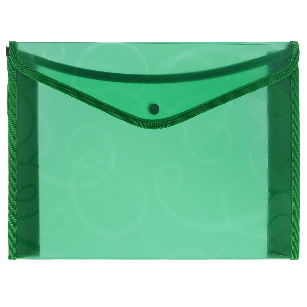 Centrum Папка-конверт на кнопке, цвет: зеленый, формат А480804Папка-конверт Centrum - это удобный и функциональный офисный инструмент, предназначенный для хранения и транспортировки рабочих бумаг и документов формата А4. Папка изготовлена из прочного полупрозрачного пластика, оформлена узором и по канту обработана текстилем. Закрывается на практичную крышку с кнопкой.Папка-конверт - это незаменимый атрибут для студента, школьника, офисного работника. Такая папка надежно сохранит ваши документы и сбережет их от повреждений, пыли и влаги.