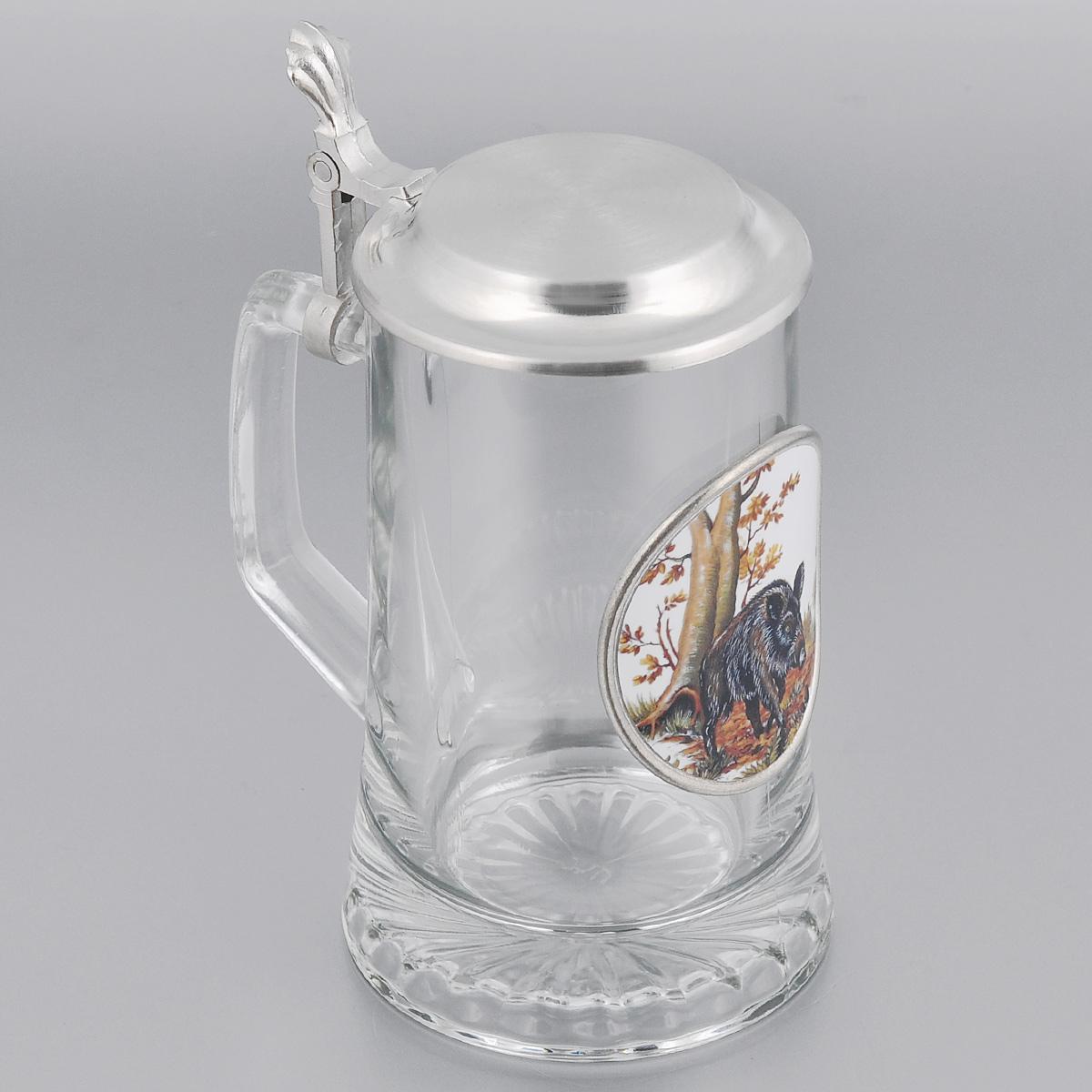 Пивная кружка коллекционная Охота с крышкой, 0,5л. Размер: 18см sks artina пивная кружка коллекционная охота на кабана с крышкой 0 5л стекло олово 95