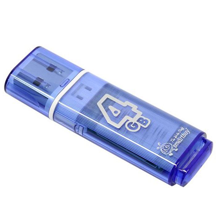 SmartBuy Glossy Series 4GB, Blue USB-накопительSB4GBGS-BКорпус USB-накопителя SmartBuy Glossy Series 4GB сделан из прозрачного пластика с белой полоской, проходящей между корпусом и колпачком. Glossy оборудован специальной системой для крепления колпачка - с помощью скобки он фиксируется между двумя выступающими пластинками на устройстве. Это очень удобно и минимизирует вероятность потери защитного колпачка. За эту же скобку устройство можно прикрепить к шнурку, чтобы накопитель всегда был под рукой.Пропускная способность интерфейса: 480 Мбит/секСовместим с: Windows 7, Windows 8, Windows Vista, Windows XP, Windows 2000, Linux, MAC OS X