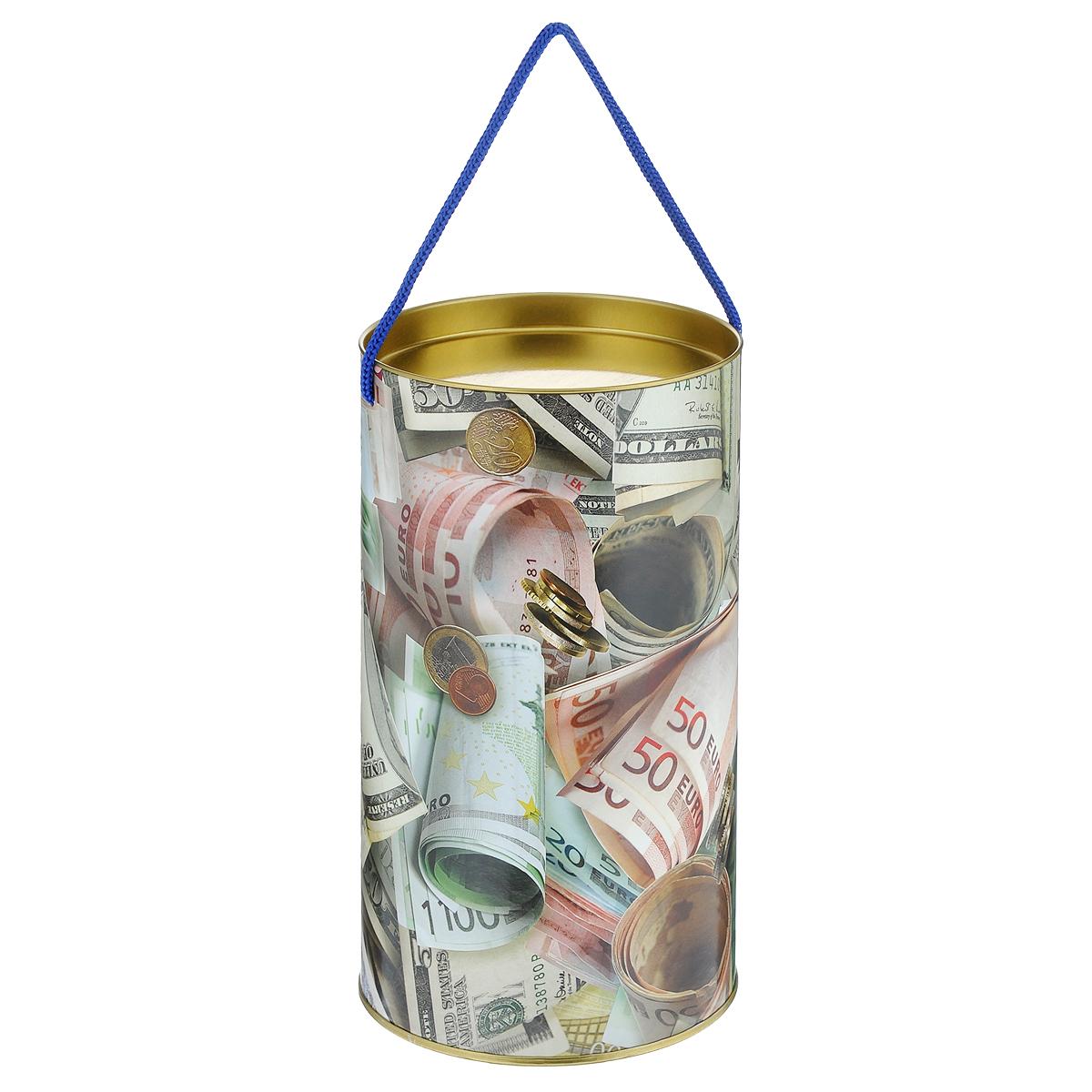 Тубус подарочный Не в деньгах счастье, 12 х 12 х 22 см4610009211558Подарочный тубус Не в деньгах счастье изготовлен из металла и плотного картона, покрытого лаком. Изделие оформлено красивым рисунком в виде различных купюр. Прекрасно подходит в качестве подарочной упаковки для алкоголя и многого другого. Красивый дизайн привлекает внимание, кроме того, он универсальный, поэтому тубус подойдет в качестве подарочной упаковки как для женщин, так и для мужчин. Для удобства переноски тубус снабжен ручкой-шнурком. Подарок, преподнесенный в оригинальной упаковке, всегда будет самым эффектным и запоминающимся. Окружите близких людей вниманием и заботой, вручив презент в нарядном, праздничном оформлении.