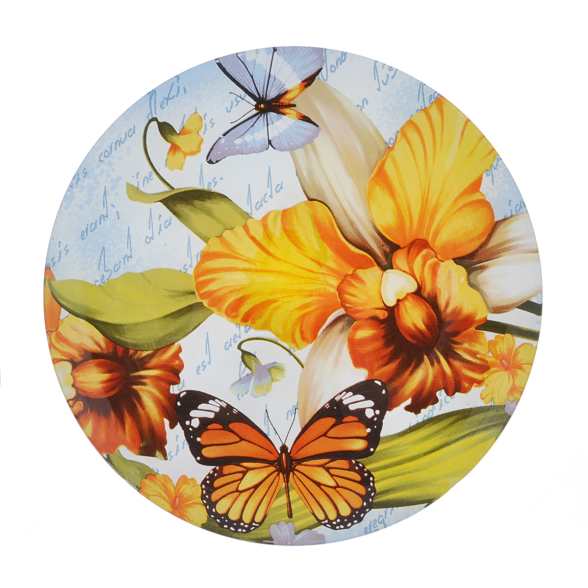 """Тарелка Zibo Shelley """"Лето"""" изготовлена из высококачественного стекла. Предназначена для красивой подачи различных блюд. Изделие украшено ярким изображением цветов.  Такая тарелка украсит сервировку стола и подчеркнет прекрасный вкус хозяйки. Можно мыть в посудомоечной машине.  Диаметр: 20 см. Высота: 1 см."""