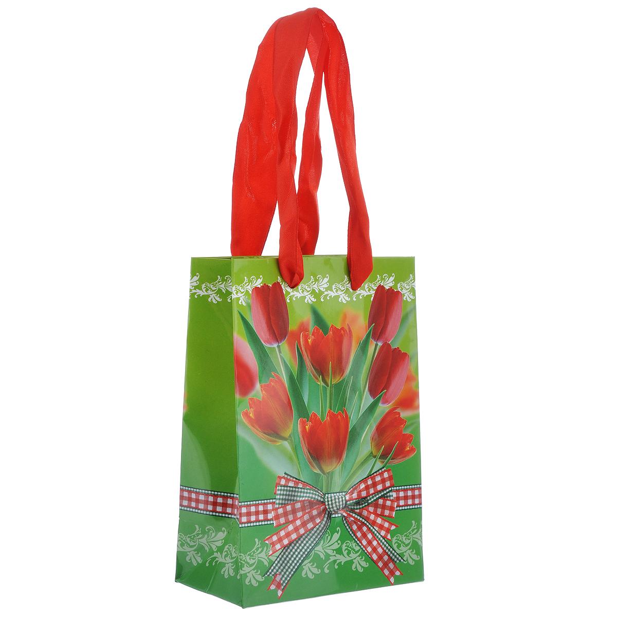 Пакет подарочный Тюльпаны, 10 х 15 х 6 см4610009210117Подарочный пакет Тюльпаны выполнен из плотной ламинированной бумаги с красочным цветочным рисунком. Дизайн очень яркий и заряжает весенним настроением. Дно изделия укреплено плотным картоном, который позволяет сохранить форму пакета и исключает возможность деформации под тяжестью подарка. Для удобной переноски на пакете имеются две атласные ручки.Подарок, преподнесенный в оригинальной упаковке, всегда будет самым эффектным и запоминающимся. Окружите близких людей вниманием и заботой, вручив презент в нарядном, праздничном оформлении.