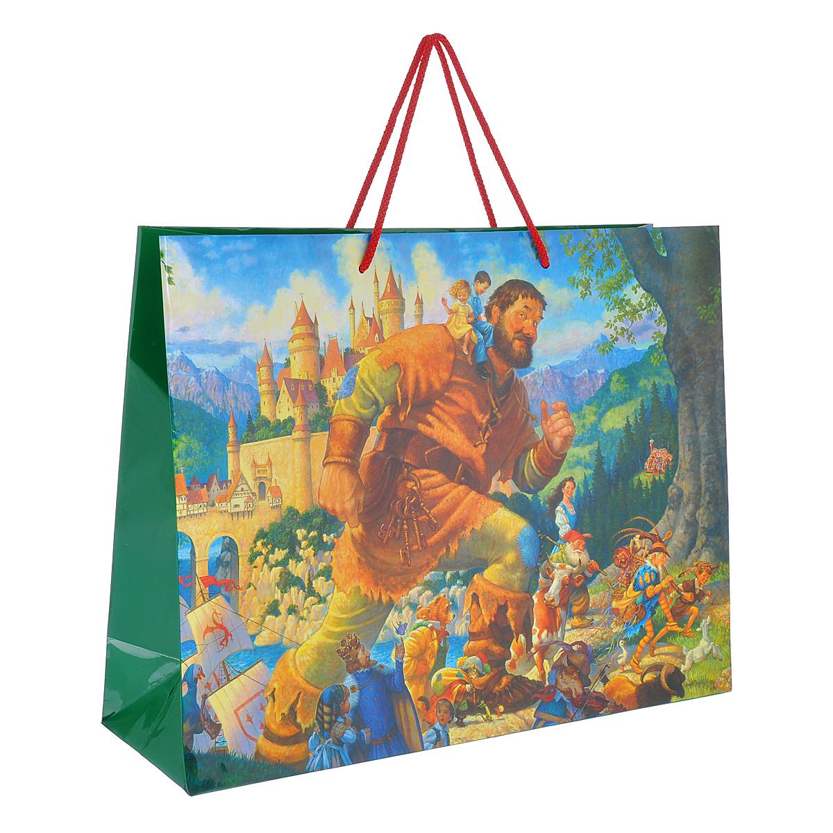 Пакет подарочный Счастливы навек, 45 см х 35 см х 14 см4610009210346Подарочный пакет Счастливы навек выполнен из плотной ламинированной бумаги, оформленной изображением сказочной страны с великанами, принцессами и гномами. Идеально подходит для подарков детям. Дно изделия укреплено плотным картоном, который позволяет сохранить форму пакета и исключает возможность деформации под тяжестью подарка. Для удобной переноски на пакете имеются ручки-шнурки.Подарок, преподнесенный в оригинальной упаковке, всегда будет самым эффектным и запоминающимся. Окружите близких людей вниманием и заботой, вручив презент в нарядном, праздничном оформлении.