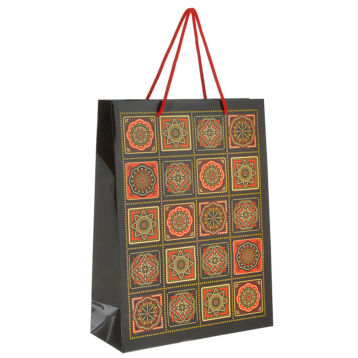 Пакет подарочный Арабеска, 30 х 40 х 12 см4610009210339Подарочный пакет Арабеска выполнен из плотной ламинированной бумаги с красочным восточным орнаментом. Дно изделия укреплено плотным картоном, который позволяет сохранить форму пакета и исключает возможность деформации под тяжестью подарка. Для удобной переноски на пакете имеются ручки-шнурки.Подарок, преподнесенный в оригинальной упаковке, всегда будет самым эффектным и запоминающимся. Окружите близких людей вниманием и заботой, вручив презент в нарядном, праздничном оформлении.