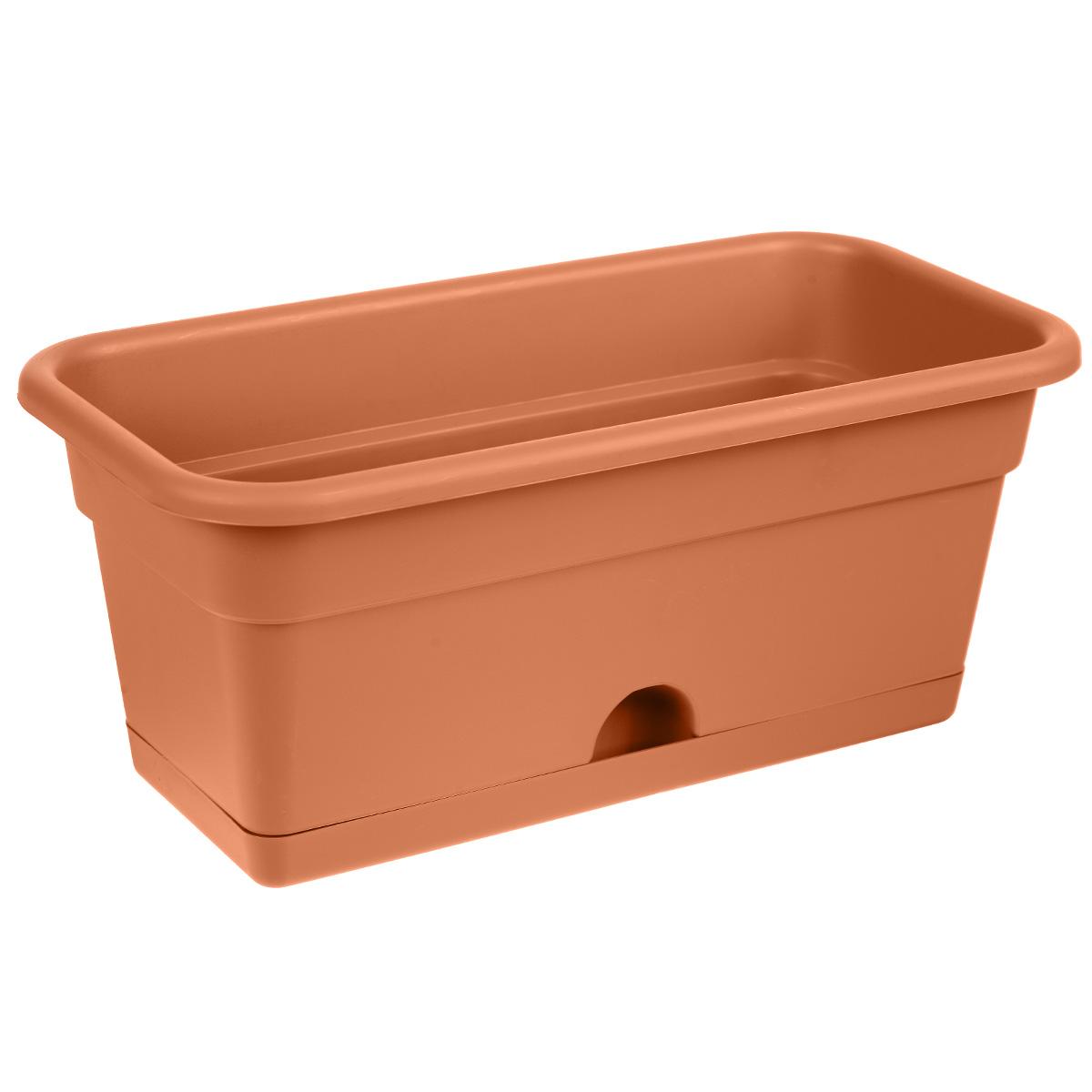 """Балконный ящик """"Darel Plastic"""", с поддоном, цвет: терракотовый, 40 см х 20 см х 17 см"""