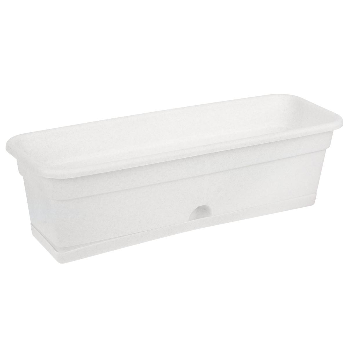 Балконный ящик Darel Plastic, с поддоном, цвет: мраморный, 60 см х 20 см х 17 см ящик балконный santino 60 х 19 х 15 см