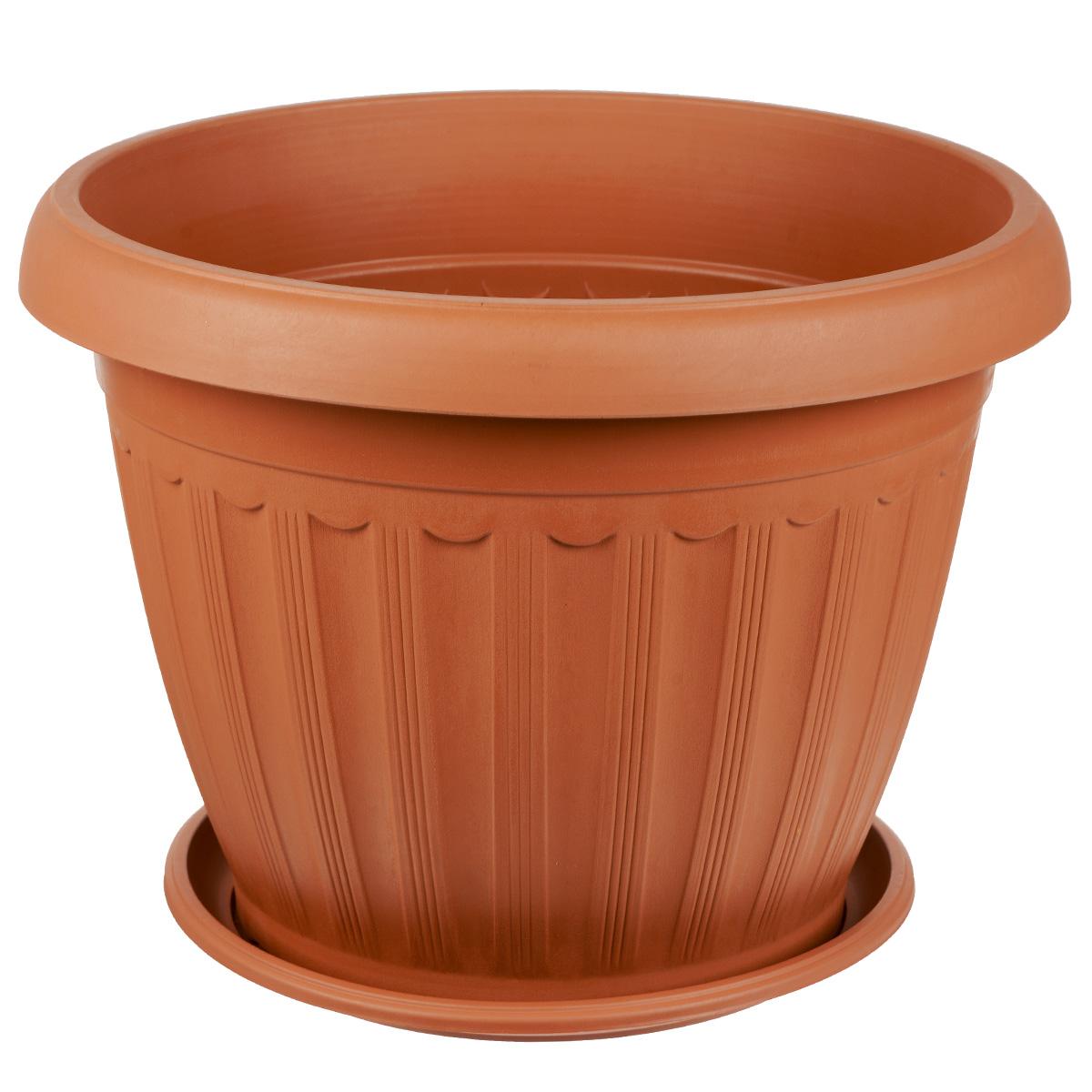 Кашпо Greenell Церера, с поддоном, цвет: терракотовый, 15 лХТ2009Кашпо Greenell Церера изготовлено из высококачественного пластика. Специальный поддон предназначен для стока воды. Изделие прекрасно подходит для выращивания растений и цветов в домашних условиях. Лаконичный дизайн впишется в интерьер любого помещения. Объем: 15 л.Диаметр поддона: 26,5 см.