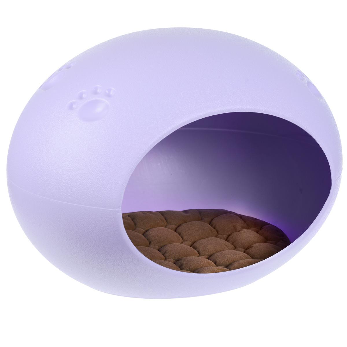 """Домик-лежанка """"V.I.Pet"""", овальный, цвет: сиреневый, 60 см х 40 см х 40 см"""