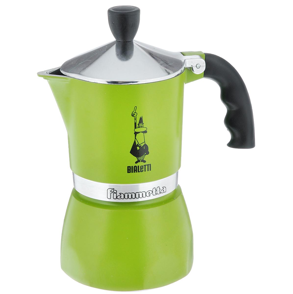 Кофеварка гейзерная Bialetti Fiametta Colors, на 3 чашки, цвет: зеленый3962Компактная гейзерная кофеварка Bialetti Fiametta Colors изготовлена из высококачественного алюминия. Объема кофе хватает на 3 чашки. Изделие оснащено удобной ручкой из бакелита.Принцип работы такой гейзерной кофеварки - кофе заваривается путем многократного прохождения горячей воды или пара через слой молотого кофе. Удобство кофеварки в том, что вся кофейная гуща остается во внутренней емкости. Гейзерные кофеварки пользуются большой популярностью благодаря изысканному аромату. Кофе получается крепкий и насыщенный. Теперь и дома вы сможете насладиться великолепным эспрессо. Подходит для газовых, электрических и стеклокерамических плит. Нельзя мыть в посудомоечной машине. Высота (с учетом крышки): 18 см.