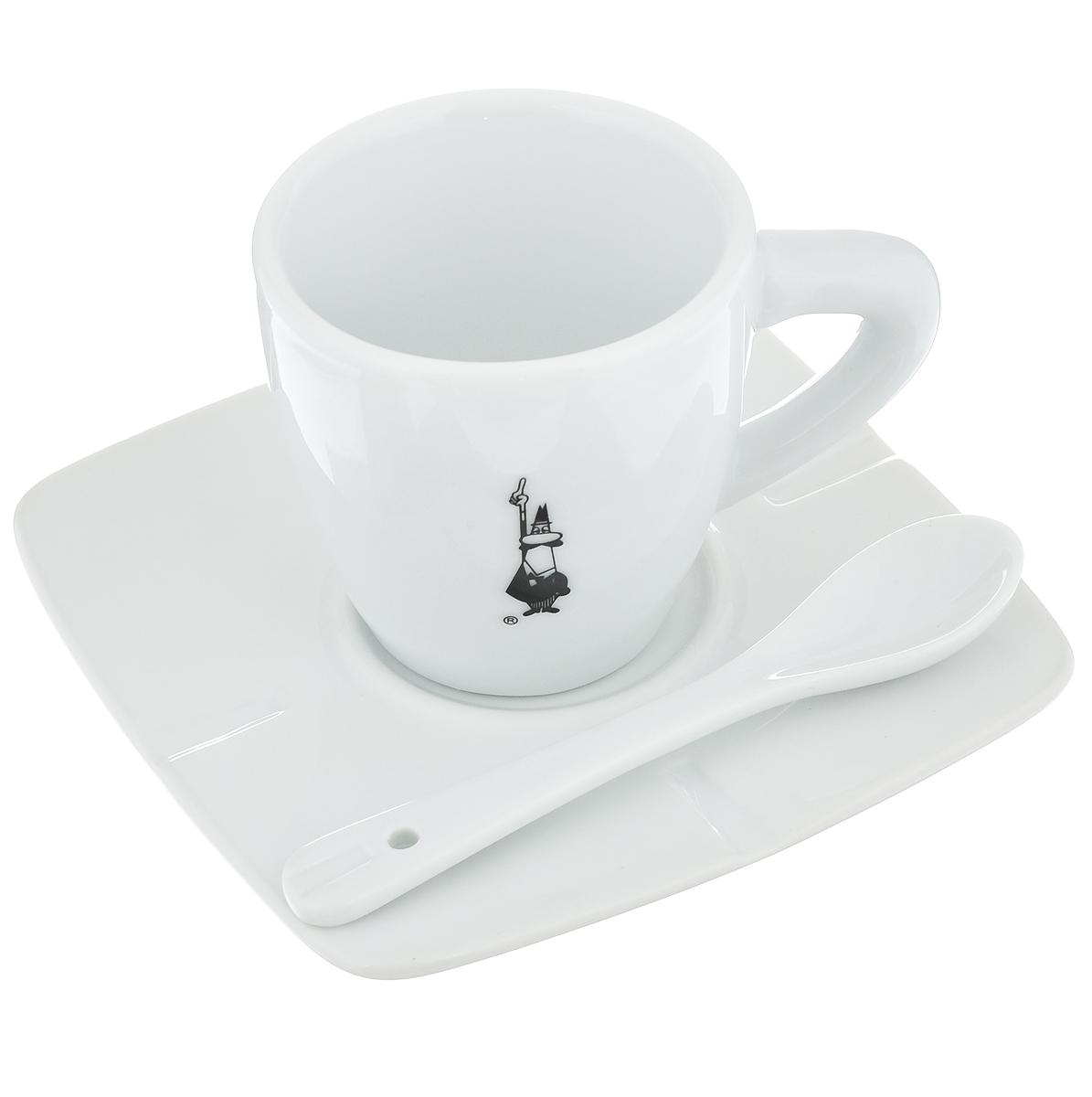 Набор для кофе Bialetti, цвет: белый, черный, 3 предмета98920020Набор для кофе Bialetti состоит из чашки, блюдца и ложки, изготовленных из фарфора. Набор классического дизайна станет изысканным и желанным подарком любителю настоящего кофе. Можно мыть в посудомоечной машине.Объем чашки: 80 мл. Высота чашки: 6 см. Диаметр чашки: 6 см. Размер блюдца: 11,4 см х 11,4 см. Длина ложки: 10,5 см. Размер рабочей части ложки: 3,5 см х 2 см.Дизайн: Италия.