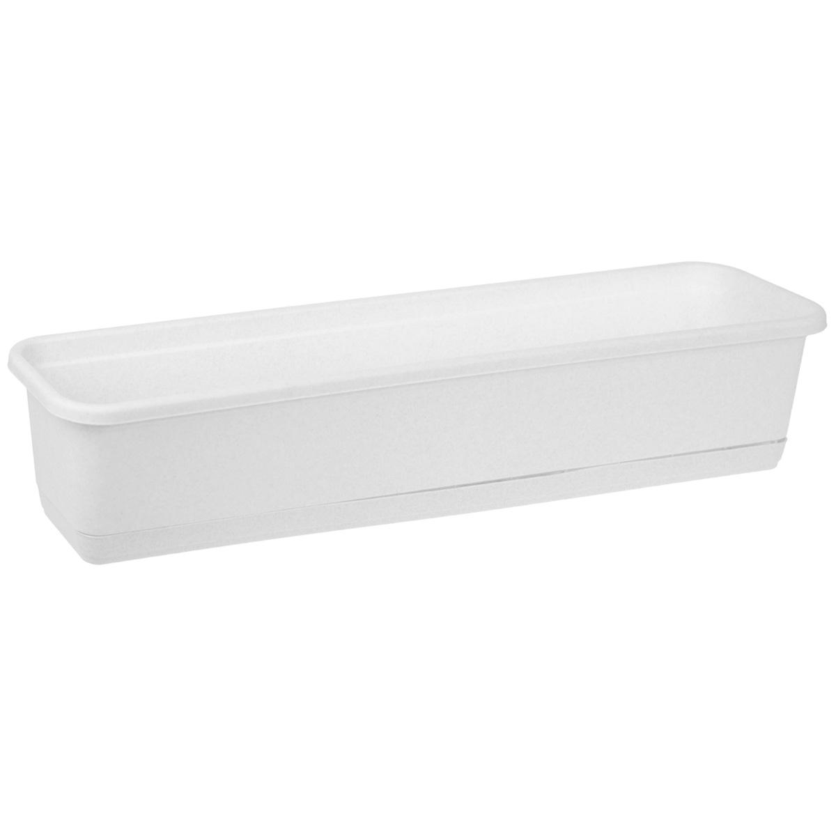 Балконный ящик Idea, цвет: мраморный, 80 см х 18 смМ 3222Балконный ящик Idea изготовлен из прочного полипропилена (пластика). Снабжен поддоном для стока воды.Изделие прекрасно подходит для выращивания рассады, растений и цветов в домашних условиях.