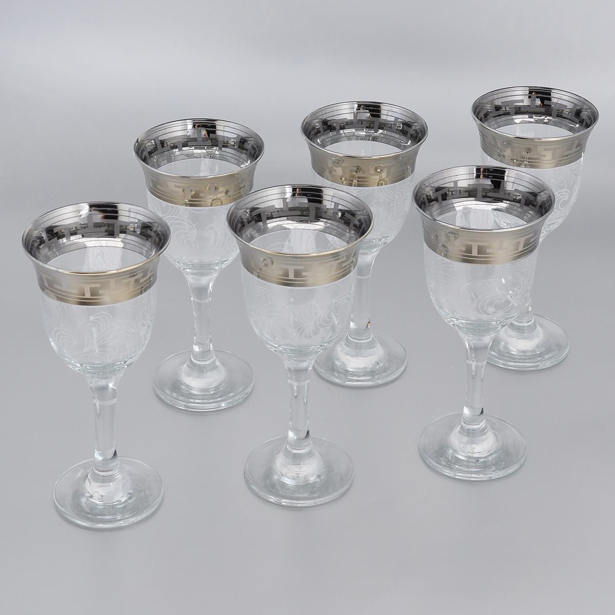 Набор фужеров Гусь-Хрустальный Греческий узор, 240 мл, 6 штGE01-863Набор Гусь-Хрустальный Греческий узор состоит из 6 фужеров для вина на тонких длинных ножках, изготовленных из высококачественного натрий-кальций-силикатного стекла. Изделия оформлены красивым зеркальным покрытием и белым матовым орнаментом. Такой набор прекрасно дополнит праздничный стол и станет желанным подарком в любом доме.Разрешается мыть в посудомоечной машине.Диаметр фужера (по верхнему краю): 8,5 см.Высота фужера: 17,5 см.
