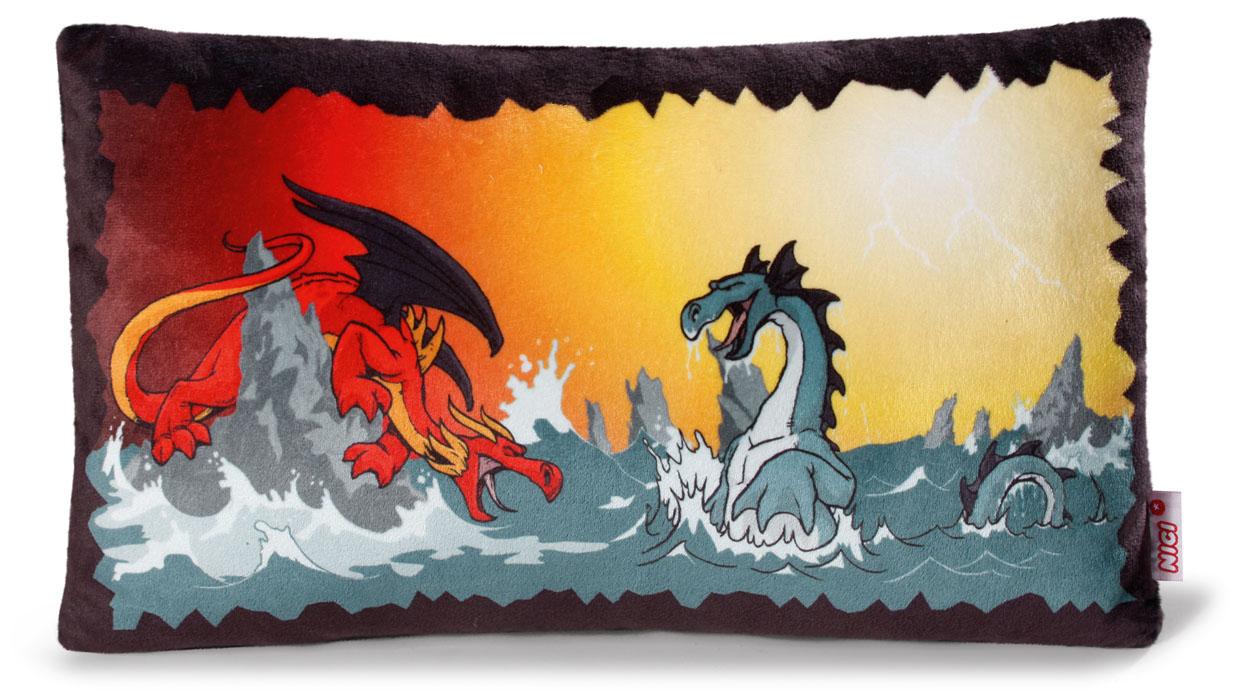 Nici Подушка Битва драконов 43 х 25 см37490Мягкая подушка Nici Битва драконов не оставит равнодушным вашего ребенка.Мягкая и приятная на ощупь подушка прямоугольной формы выполнена из полиэстера с мягкой набивкой и оформлена вышитой аппликацией в виде двух драконов. Подушка удивительно приятна на ощупь. Необычайно мягкая, она принесет радость и подарит своему обладателю мгновения нежных объятий и приятных воспоминаний.Такая подушка станет отличным аксессуаром для детской комнаты.