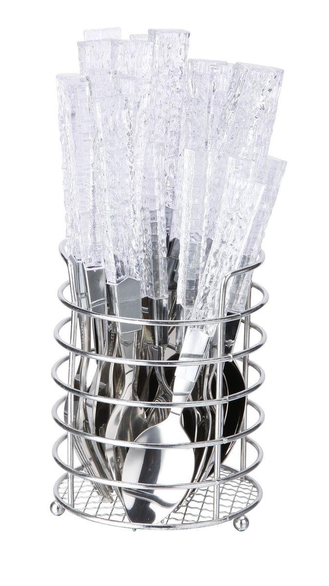 Набор столовых приборов Bekker, 25 предметов. BK-3301BK-3301Набор столовых приборов изготовлен из нержавеющей стали. Ручки изготовлены из прозрачного пластика с узором, имитирующим хрусталь. В набор входят 6 ножей, 6 вилок, 6 ложек6 чайных ложек и металлическая подставка-корзинка. Такой набор станет незаменимым как за праздничным столом, так и повседневной жизни.Можно мыть в посудомоечной машине.