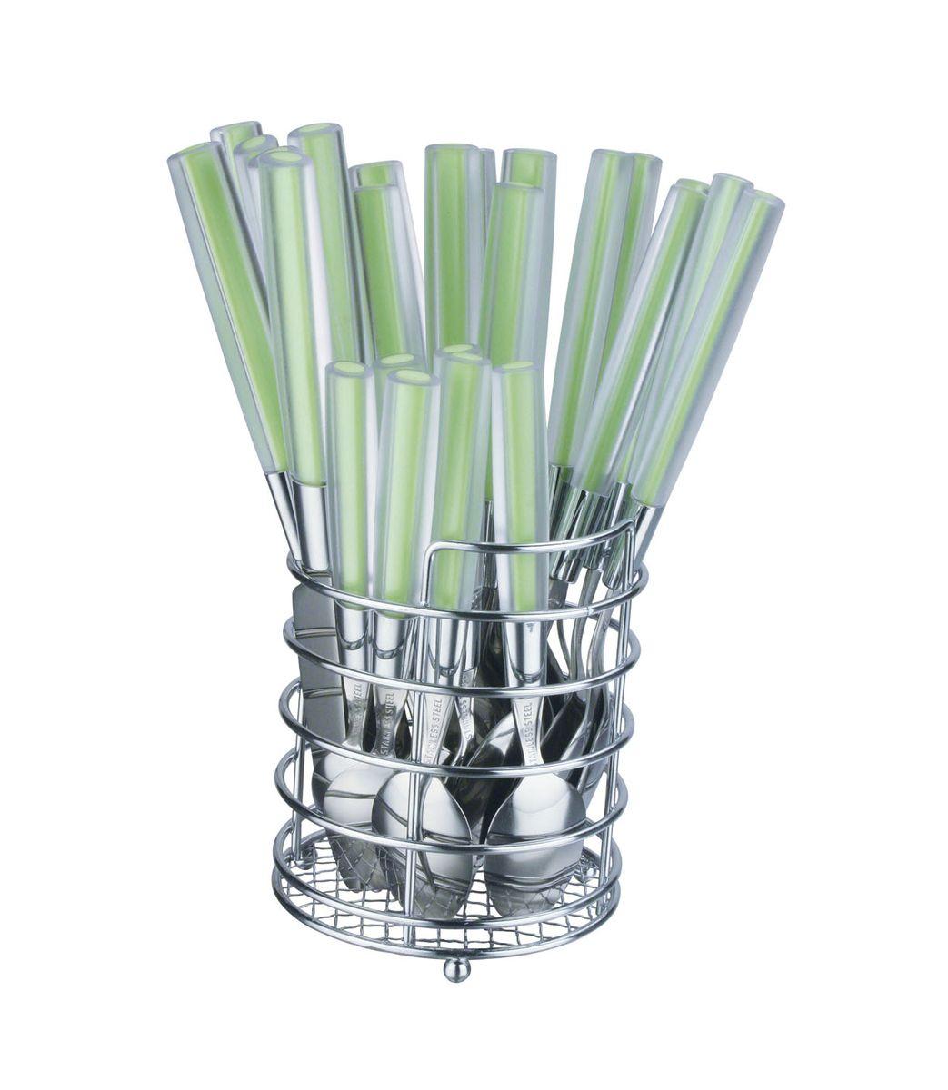 Набор столовых приборов Bekker, 25 предметов. BK-421BK-421Набор столовых приборов Bekker состоит из 6 столовых ложек, 6 столовых вилок, 6 столовых ножей, 6 чайных ложек и подставки. Изделия выполнены из высококачественной нержавеющей стали с зеркальной полировкой. Ручки приборов изготовлены из пластика. Для хранения приборов предусмотрена подставка-корзинка с 4 секциями для каждого вида прибора. Такой набор прекрасно дополнит сервировку стола. Благодаря качеству материала и первоклассной обработке, набор прослужит вам долгие годы и сохранит безупречный внешний вид.