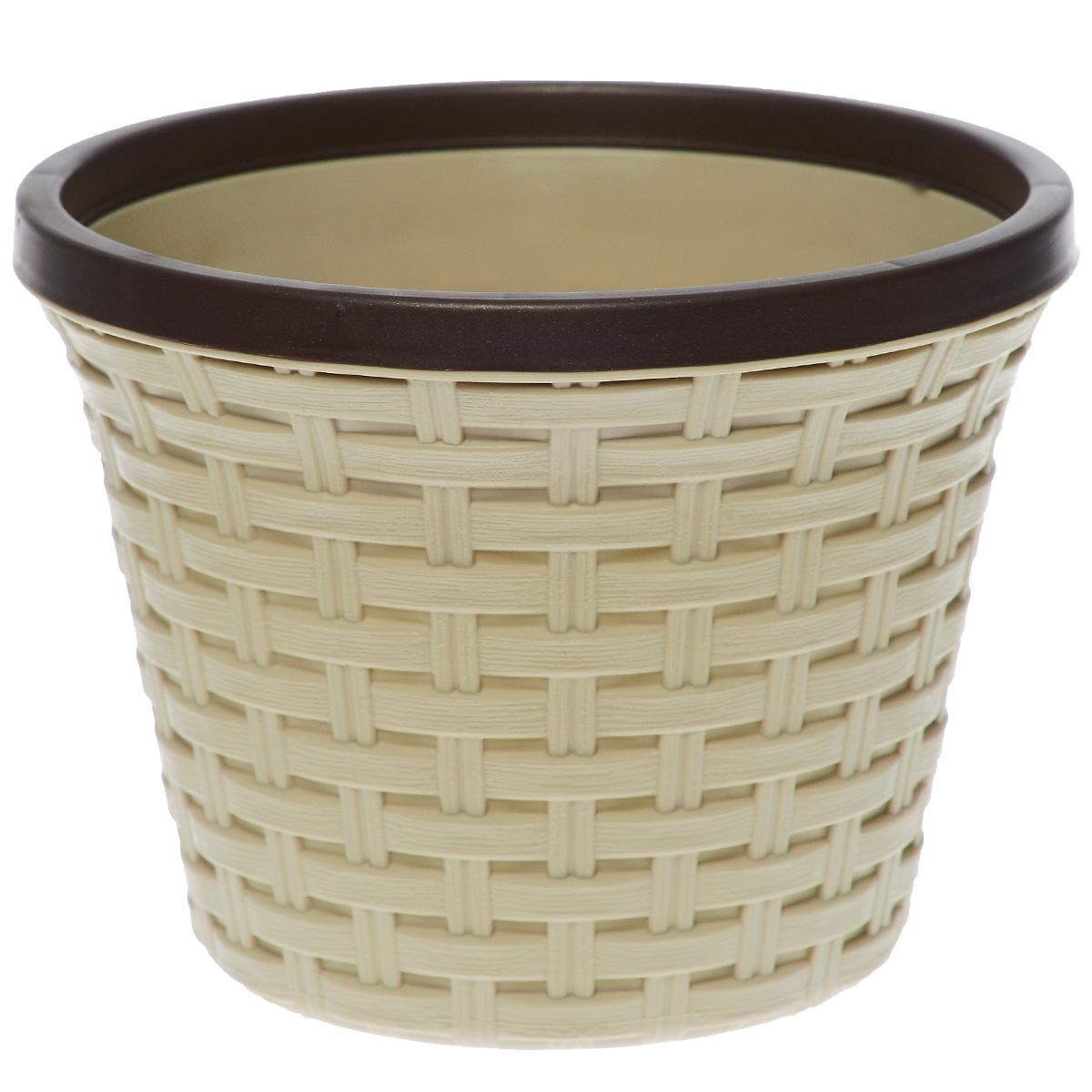 Кашпо Violet Ротанг, с дренажной системой, цвет: бежевый, 2,2 л32220/2Кашпо Violet Ротанг изготовлено из высококачественного пластика и оснащено дренажной системой для быстрого отведения избытка воды при поливе. Изделие прекрасно подходит для выращивания растений и цветов в домашних условиях. Лаконичный дизайн впишется в интерьер любого помещения.Объем: 2,2 л.