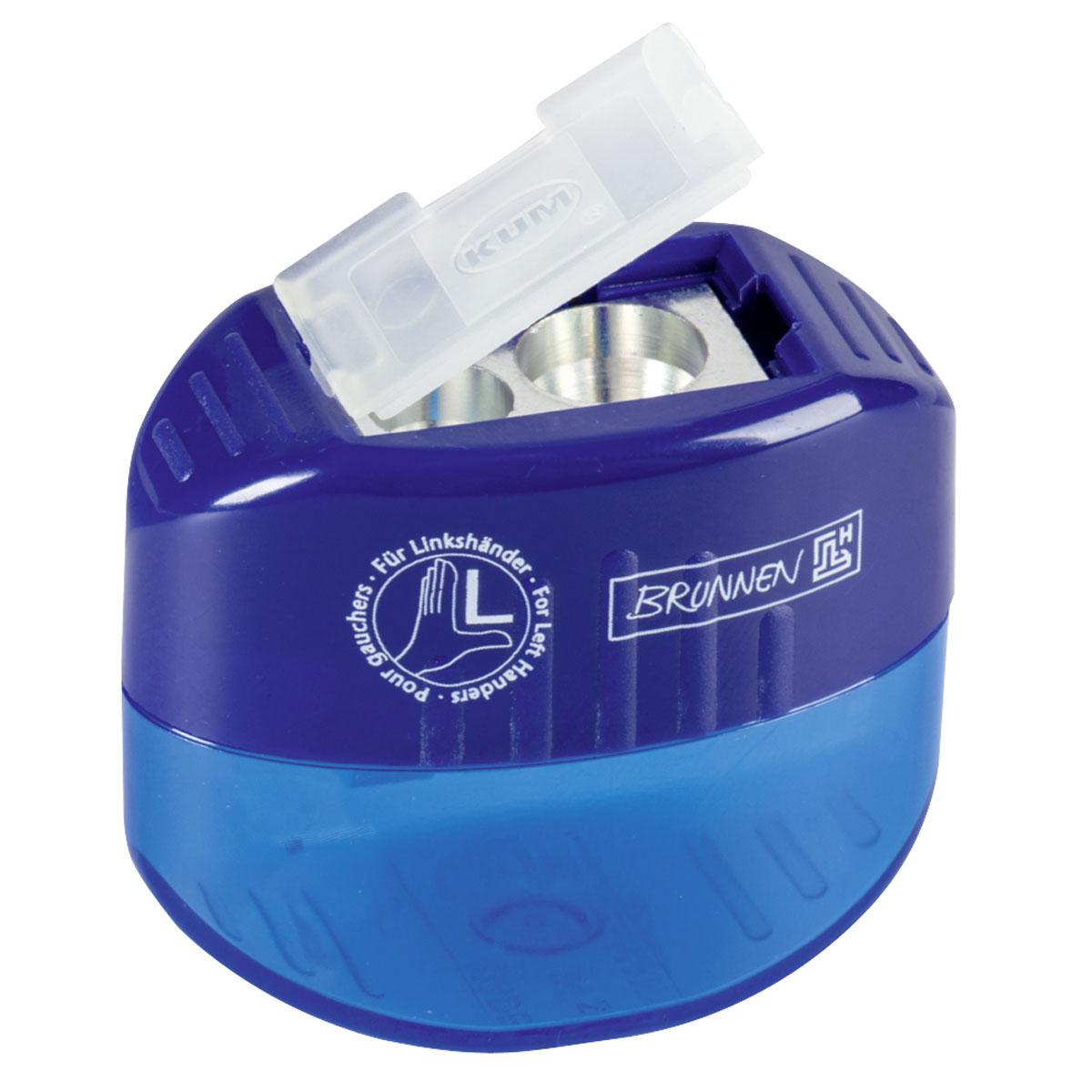 Brunnen Точилка двойная, для левшей, цвет: синий29842\BCDТочилка двойная для левшей, выполнена из прочного пластика.В точилке имеются два отверстия для карандашей разного диаметра, подходит для различных видов карандашей. Отверстия закрываются удобной пластиковой крышкой.Полупрозрачный контейнер для сбора стружки позволяет визуально контролировать уровень заполнения и вовремя производить очистку.