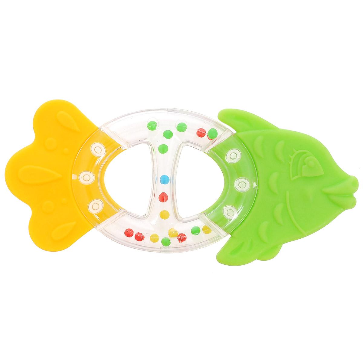 Stellar Погремушка-прорезыватель Рыбка, цвет: салатовый, желтый развивающая игрушка stellar веселый молоточек цвет малиновый розовый желтый