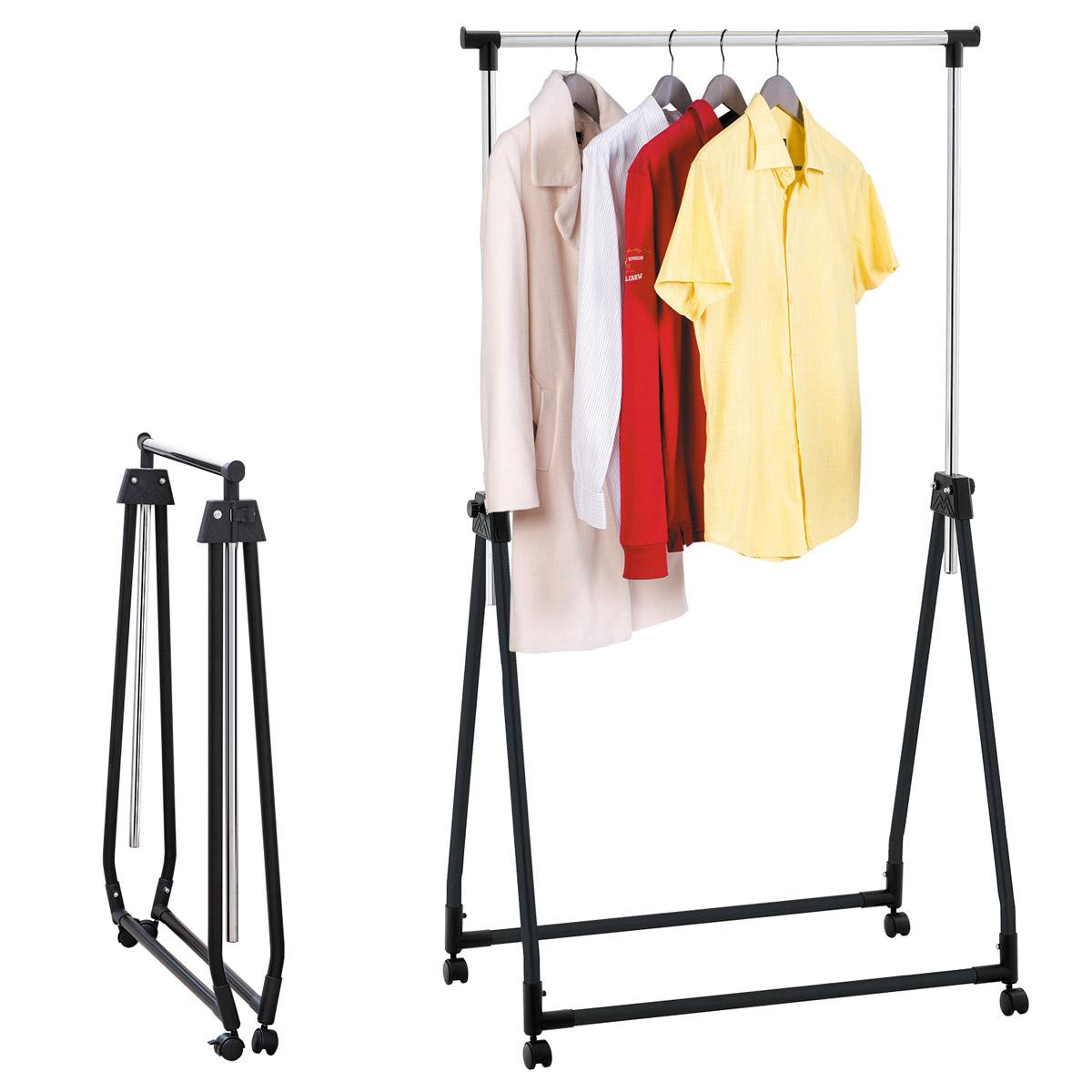 """Стойка для одежды Tatkraft """"Halland"""" изготовлена из хромированной стали. На такую стойку удобно вешать одежду, при этом стойка не займет много места. Высота регулируемая, от 99 см до 167 см. Для удобного хранения и перемещения, стойка имеет складную конструкцию и 4 колесика.         Практичная и стильная стойка займет достойное место в вашем доме.               Размер стойки в сложенном виде: 89 см х 11 х 99 см.        Размер в разложенном виде: 89 см х 49 см х 99-167 см."""