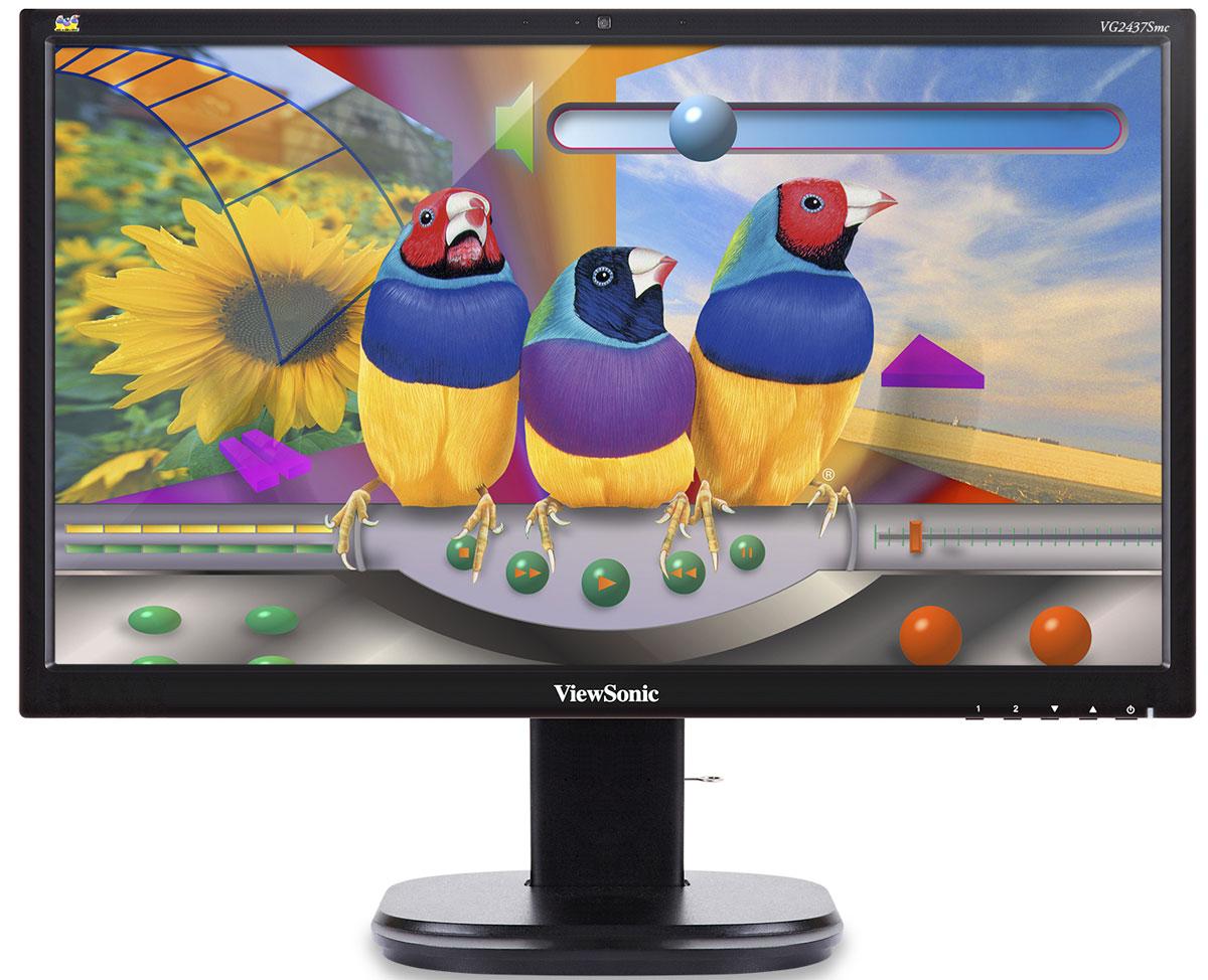ViewSonic VG2437SMC мониторVS14995В 24-дюймовом эргономичном мониторе ViewSonic VG2437SMC имеются 2-мегапиксельная веб-камера, микрофон с эхо-компенсацией и стереодинамики для взаимодействия с любым программным обеспечением видео- и веб-конференций. Панель SuperClear MVA обеспечивает широкие углы обзора 178° и потрясающую контрастность. К характерным особенностям относятся разъемы DisplayPort, DVI, VGA и USB, эргономичная подставка, технологии Blue Light Filter и Flicker-Free, энергосберегающие режимы Eco и стандартная 3-летняя гарантия.Проводите ли вы деловое совещание, прослушиваете ли виртуальную лекцию или просто общаетесь со своими друзьями и родственниками, тесное общение с помощью монитора VG2437Smc поможет вам сократить расходы, организовать совместную работу и повысить производительность. Монитор VG2437Smc совместим сприложениями Microsoft Lync, Skype, Cisco Jabber и Webex, Citrix Gotomeeting, Adobe Connect и Google Hangouts.Монитор VG2437Smc со встроенной 2-мегапиксельной веб-камерой обеспечит вам общение лицом к лицу. Благодаря встроенному микрофону с эхо-компенсацией и стереодинамикам мощностью 2 Вт вы получаете идеально четкий звук во время разговоров.Панель SuperClear MVA в мониторе ViewSonic VG2437SMC обеспечивает исключительную цветопередачу и превосходную контрастность, охватывая 95 % цветового пространства sRGB. Благодаря широким углам обзора 178° вы можете наслаждаться точными, живыми цветами и устойчивыми уровнями яркости, глядя на экран сверху, снизу, прямо или сбоку, — никакого искажения цвета или снижения уровня яркости.Оптимизированный для эффективной работы монитор ViewSonic VG2437SMC обеспечивает максимальный комфорт при просмотре в любых условиях. Регулируя высоту, наклон, поворот и разворот, можно подобрать идеальное положение для монитора и веб-камеры.С помощью пяти предустановленных сценариев просмотра уникальная функция ViewMode компании ViewSonic предоставляет лучшую в своем классе калибровку экрана, обеспечивая точную цветопередачу и