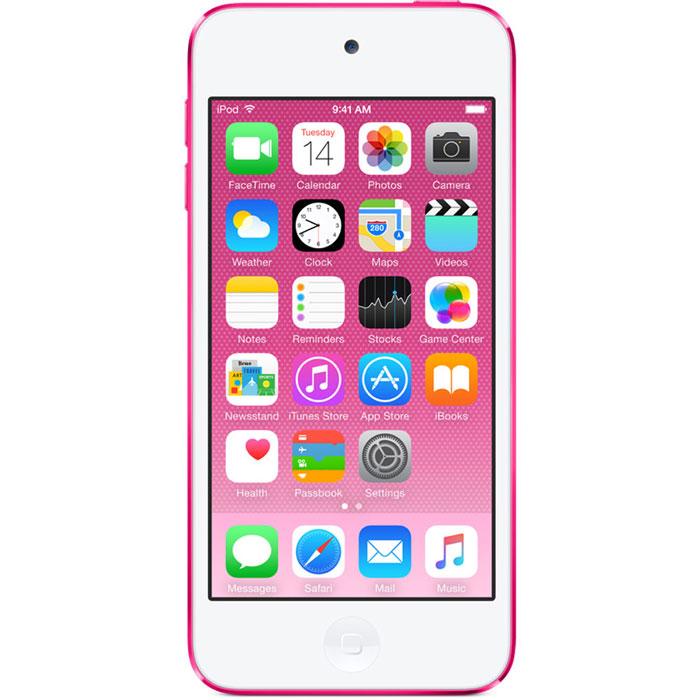Apple iPod Touch 6G 64GB, Pink mp-3 плеерMKGW2RU/AApple iPod Touch 6G - это отличный способ уместить всю медиатеку в кармане. iTunes Store, самый большой в мире каталог музыки, наполнит ваш iPod touch любимыми песнями. iCloud обеспечит автоматический доступ ко всем вашим покупкам со всех ваших Apple-устройств - совершенно бесплатно. А сервис Apple Music, доступный прямо в приложении Музыка, произведет сильное впечатление. В Apple iPod Touch 6G встроен 64-битный процессор A8 уровня настольных компьютеров, разработанный Apple. Благодаря ему производительность увеличилась до шести раз по сравнению с моделью предыдущего поколения, а скорость графики выросла до 10 раз - теперь ваши любимые игры работают быстрее и выглядят ещё реалистичнее, чем прежде. Время работы от аккумулятора не изменилось - до 40 часов воспроизведения музыки и до 8 часов воспроизведения видео.Сопроцессор движения M8 постоянно измеряет данные ваших движений, используя передовые датчики, в том числе гироскоп и акселерометр. Выполняя эти задачи, M8 разгружает процессор и повышает эффективность работы устройства. Кроме того, он предоставляет точные фитнес-данные, например количество шагов или дистанцию, для приложения Здоровье. Metal - новая технология, позволяющая разработчикам создавать игры консольного уровня с высокой степенью погружения - была создана для достижения оптимальной графической производительности процессора A8 и системы iOS 8. Metal оптимизирует работу графического и центрального процессоров и позволяет добиться детальной графики и сложных визуальных эффектов. Любой игровой мир будет выглядеть как настоящий. В Apple iPod Touch 6G оснащен 4-дюймовым дисплеем Retina с разрешением 1136 х 640 точек, так что все ваши развлечения будут смотреться неотразимо. Резкие повороты в гоночных симуляторах, плейлист для вечеринки, фотографии друзей - все выглядит четко, ярко и реалистично. А еще этот дисплей идеально подходит для широкоэкранных HD - фильмов и телепередач.Теперь ваши фотографии и видео 