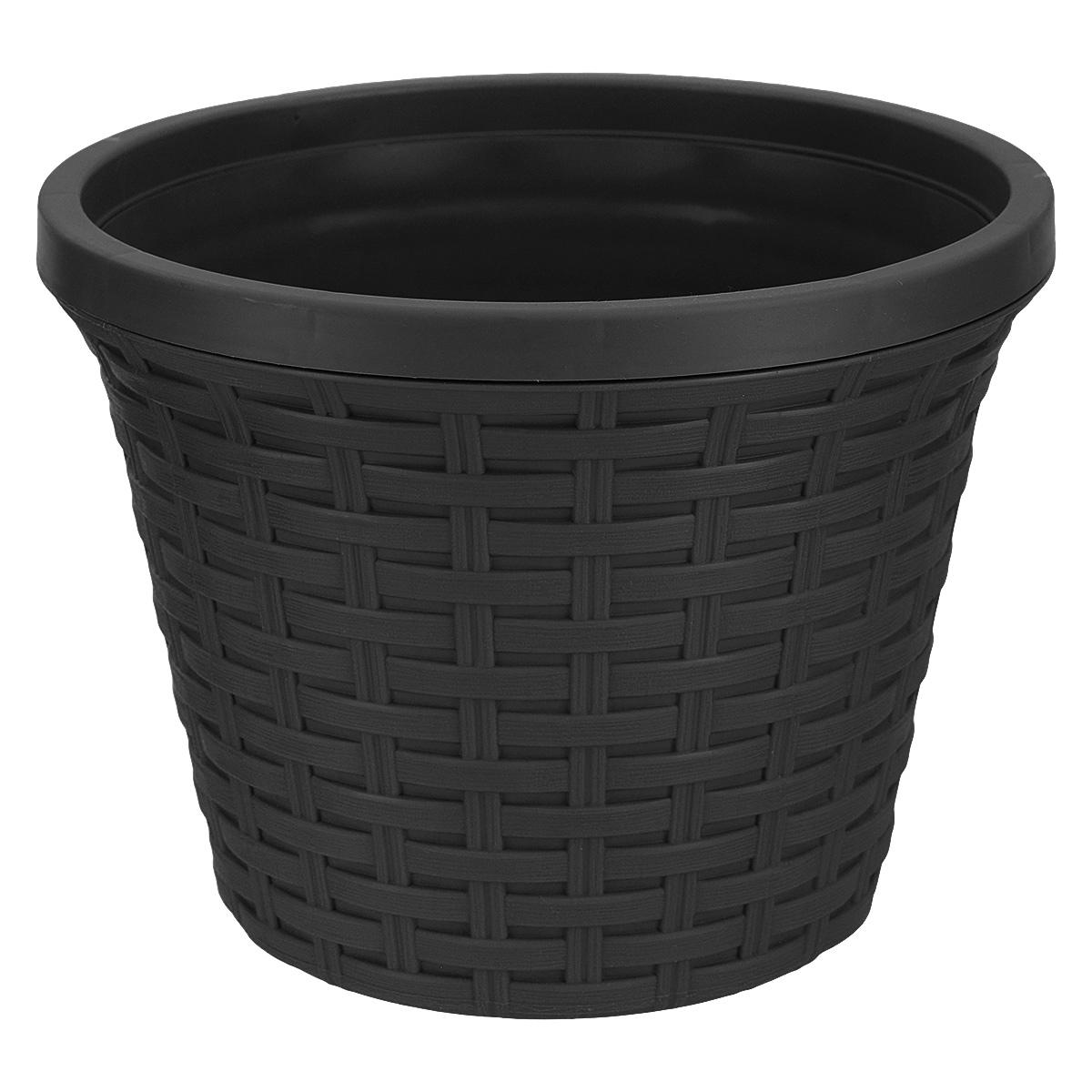 Кашпо круглое Violet Ротанг, с дренажной системой, цвет: черный, 3,4 л32340/7Круглое кашпо Violet Ротанг изготовлено из высококачественного пластика и оснащено дренажной системой для быстрого отведения избытка воды при поливе. Изделие прекрасно подходит для выращивания растений и цветов в домашних условиях. Лаконичный дизайн впишется в интерьер любого помещения.Объем: 3,4 л.