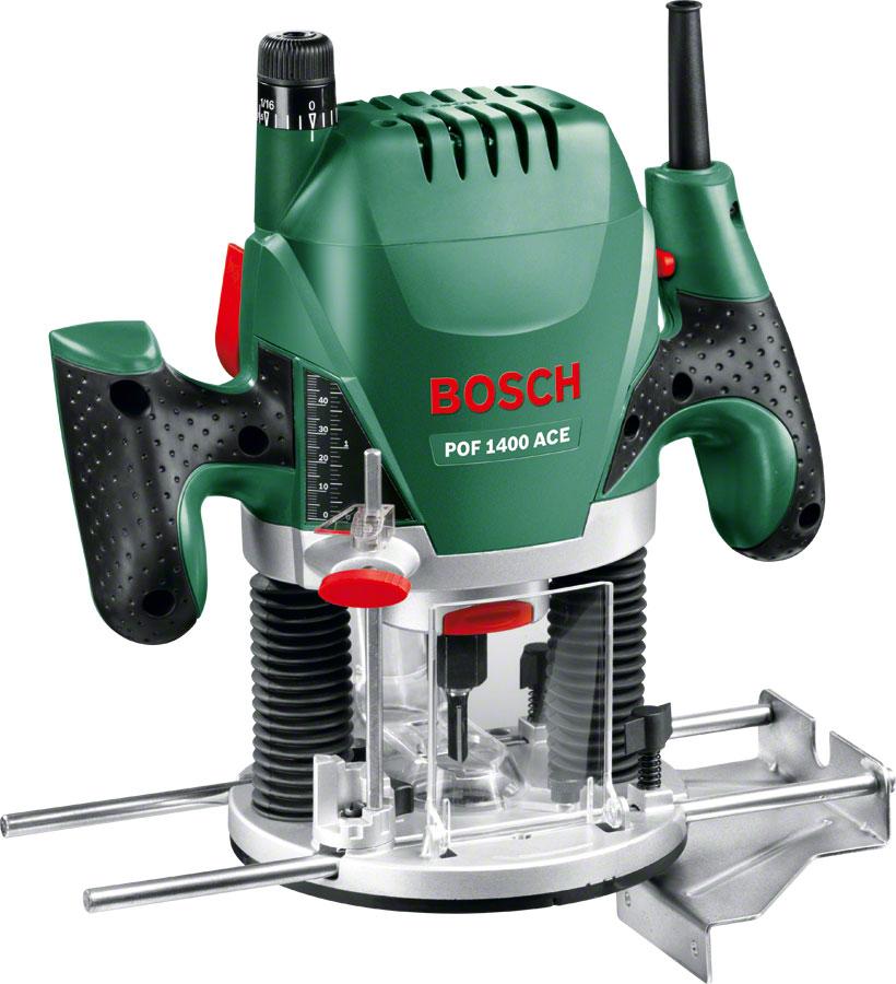 Фрезер Bosch POF 1400 ACE (060326C820)POF 1400 ACEФрезер BOSCH POF 1400 ACE - двигатель мощностью 1400 Вт для выполнения сложных работ по обработке древесины любой породы.Особенности:Константная электроника - поддерживает заданную частоту вращения при нагрузке.Точная регулировка глубины захода до 1/10мм.Система Bosch-SDS обеспечивает простую установку копировальной втулки без использования дополнительного инструмента.Встроенная подсветка - обеспечивает хорошее освещение заготовки.Установка частоты вращения в зависимости от материала благодаря электронному управлению Bosch с помощью регулировочного колесика и выключателя с функцией акселератора.Патрубок для подсоединения системы пылеудаления - работа без пыли.Исключительно эргономичная конструкция с рукояткой с мягкой накладкой для комфортной и безопасной работы.POF 1400 ACE от Bosch - это вертикальная фрезерная машина для всех домашних мастеров, которые намерены выполнять также и сложные виды фрезерных работ. Двигатель мощностью 1400 Вт делает POF 1400 ACE особенно эффективным инструментом. Пользователи по достоинству оценят профессиональное оснащение инструмента, например, регулировку глубины фрезерования и электронную систему стабилизации. Испытанное защитное оснащение Bosch и высокий комфорт управления гарантируют неутомительную работу даже при частом использовании фрезера наряду с высокоточными результатами работы! Широкий ассортимент принадлежностей обеспечивает домашнему мастеру необходимую гибкость при выполнении различных работ.Эффективное фрезерование, комфортная работа и точные результаты: топовая модель POF 1400 ACE отличается высокой производительностью и дополнительно оснащена электронной системой стабилизации и встроенной рабочей подсветкой с 2 светодиодами. Электронная система стабилизации поддерживает выбранную частоту вращения - в диапазоне от 11 000 до 28 000 оборотов в минуту в зависимости от необходимости - на постоянном уровне, обеспечивая тем самым оптимальное качество обработки. Кроме того, PO