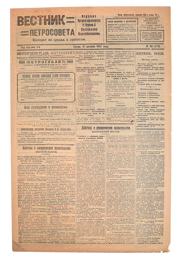 Газета Вестник Петросовета. 1923, № 98 (275), 12 декабря частные объявления куплю малярное оборудование для автосервиса