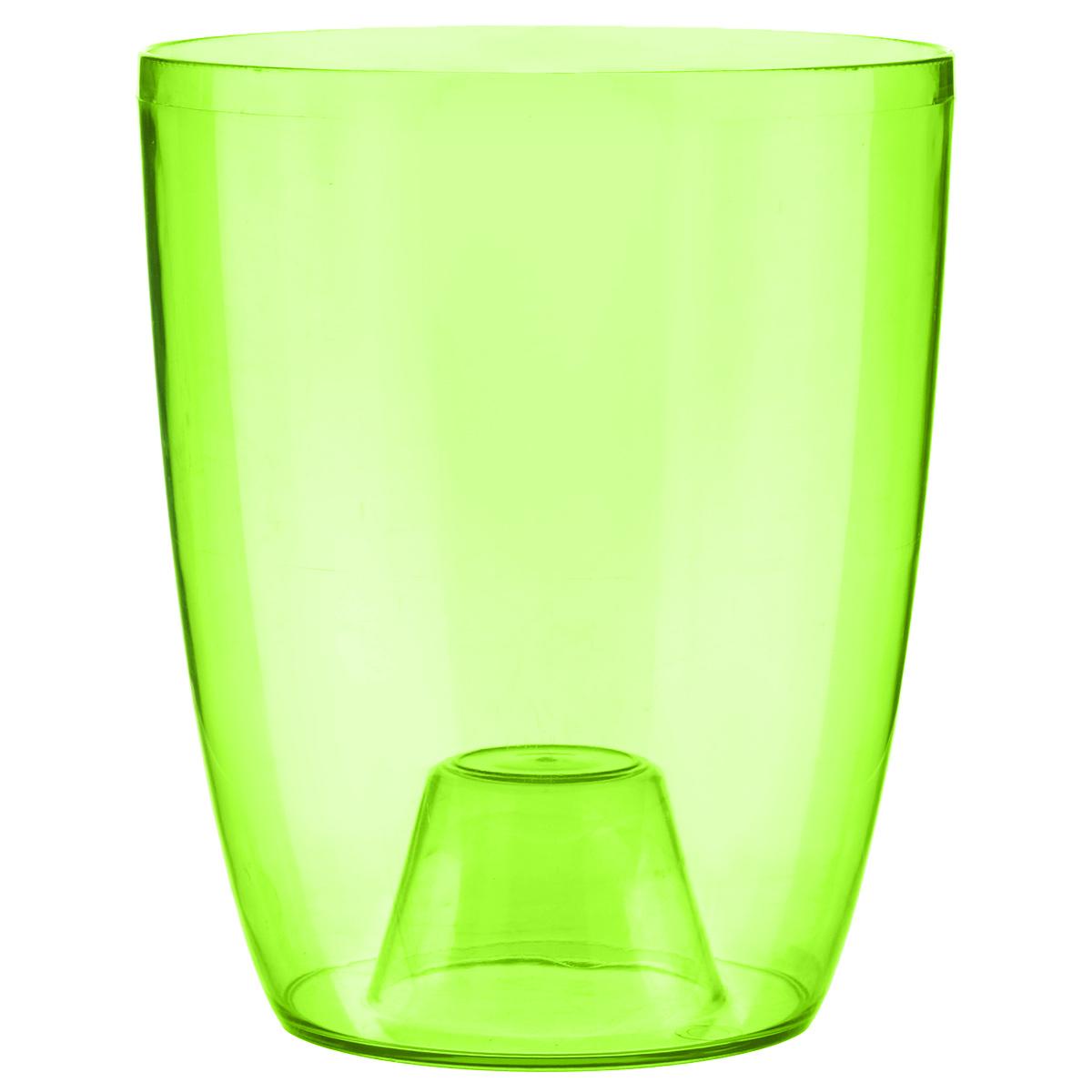 Кашпо Idea Орхидея, цвет: зеленый, диаметр 12,5 смМ 3147Кашпо Idea Орхидея изготовлено из прочного прозрачного полистирола (пластика). Изделие предназначено для выращивания растений и цветов в домашних условиях. Такое кашпо порадует вас современным дизайном и функциональностью, а также оригинально украсит интерьер помещения. Диаметр по верхнему краю: 12,5 см. Высота кашпо: 15 см.
