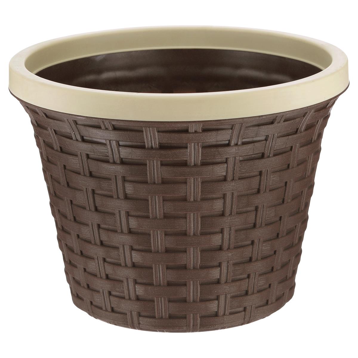 Кашпо круглое Violet Ротанг, с дренажной системой, цвет: коричневый, 3,4 л810586Круглое кашпо Violet Ротанг изготовлено из высококачественного пластика и оснащено дренажной системой для быстрого отведения избытка воды при поливе. Изделие прекрасно подходит для выращивания растений и цветов в домашних условиях. Лаконичный дизайн впишется в интерьер любого помещения.Объем: 3,4 л.