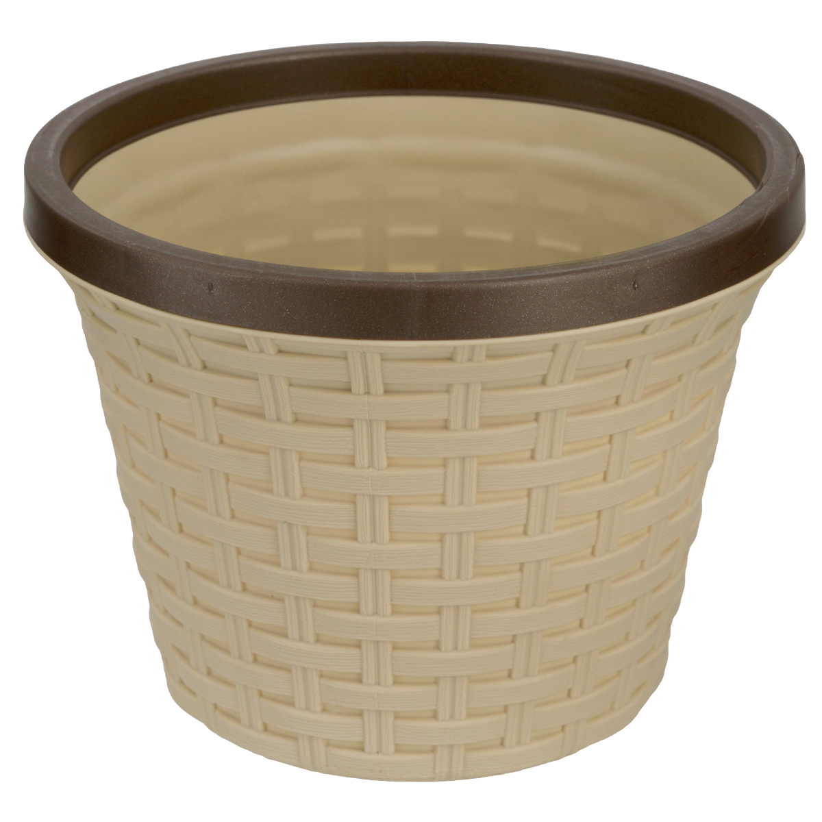 Кашпо Violet Ротанг, с дренажной системой, цвет: бежевый, 8,8 л32880/2Кашпо Violet Ротанг изготовлено из высококачественного пластика и оснащено дренажной системой для быстрого отведения избытка воды при поливе. Изделие прекрасно подходит для выращивания растений и цветов в домашних условиях. Лаконичный дизайн впишется в интерьер любого помещения.Объем: 8,8 л.