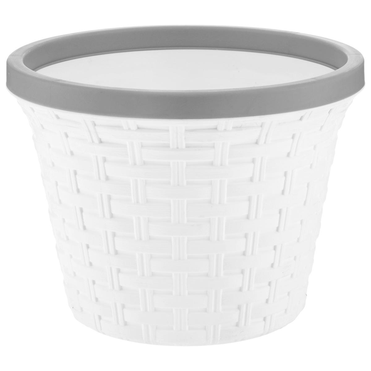 Кашпо Violet Ротанг, с дренажной системой, цвет: белый, 6,5 л810614Кашпо Violet Ротанг изготовлено из высококачественного пластика и оснащено дренажной системой для быстрого отведения избытка воды при поливе. Изделие прекрасно подходит для выращивания растений и цветов в домашних условиях. Лаконичный дизайн впишется в интерьер любого помещения.Объем: 6,5 л.