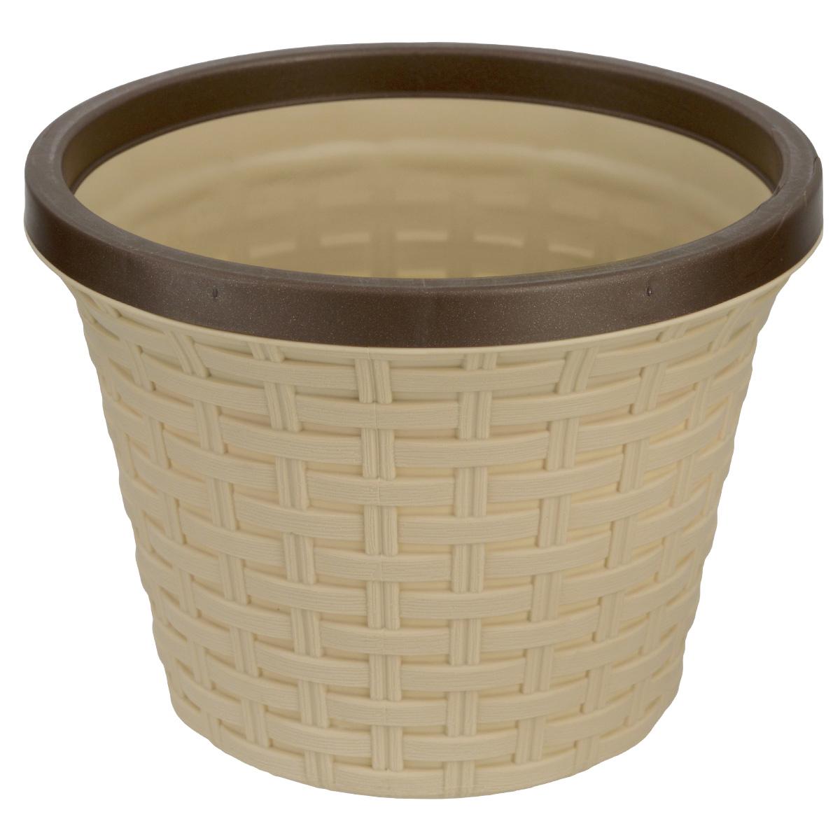 Кашпо Violet Ротанг, с дренажной системой, цвет: бежевый, 6,5 л810602Кашпо Violet Ротанг изготовлено из высококачественного пластика и оснащено дренажной системой для быстрого отведения избытка воды при поливе. Изделие прекрасно подходит для выращивания растений и цветов в домашних условиях. Лаконичный дизайн впишется в интерьер любого помещения.Объем: 6,5 л.
