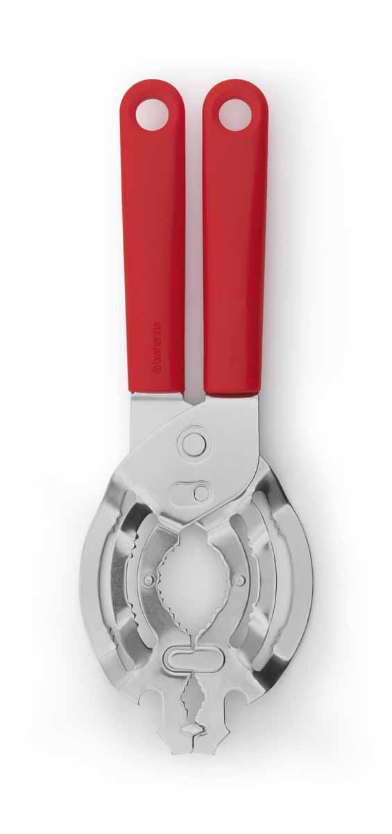 Открывалка универсальная Brabantia Tasty Colours, цвет: красный. 106583106583Открывает без усилий практически любые банки с крышками диаметром от 10 до 100 мм. Открывает консервные банки и бутылки. Может использоваться левой и правой рукой, подходит для маленьких рук. Ручка из прочного пластика, рабочая часть – из нержавеющей стали. Подходит для мытья в посудомоечной машине. Удобно хранить – петелька для подвешивания.