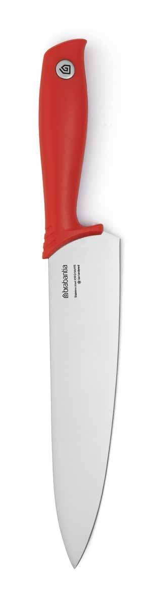 Нож поварской Brabantia Tasty Colors, цвет: красный, длина лезвия 20 см. 108082108082Нож остается острым в течение длительного времени – лезвие из закаленной стали. Повышенная устойчивость к царапинам и коррозии – высокоуглеродистая молибден-ванадиевая сталь. Универсальный нож для резки сырого мяса, трав и овощей – широкое длинное лезвие с тонким кончиком. Повышенная безопасность – специальный предохранитель для пальцев на рукоятке. Удобство в очистке и гигиеничность – бесшовная ручка из монолитного материала.