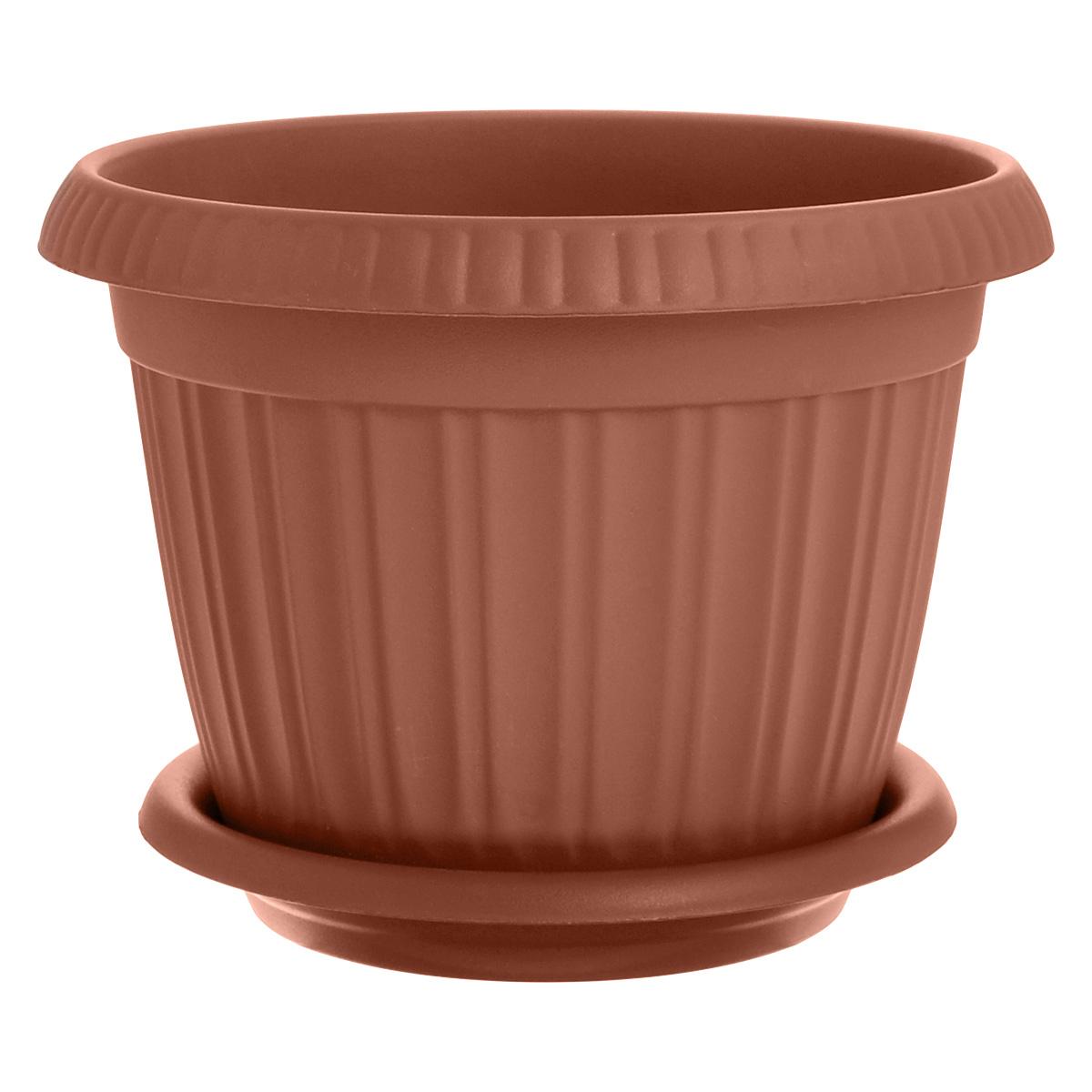 Горшок для цветов InGreen Таити, с подставкой, цвет: коричневый, диаметр 23 смGPR10-06-PГоршок InGreen Таити выполнен из высококачественного полипропилена (пластика) и предназначен для выращивания цветов, растений и трав. Снабжен подставкой для стока воды. Такой горшок порадует вас функциональностью, а благодаря лаконичному дизайну впишется в любой интерьер помещения. Диаметр горшка по верхнему краю: 23 см.Высота горшка: 17,5 см.Диаметр подставки: 19 см.