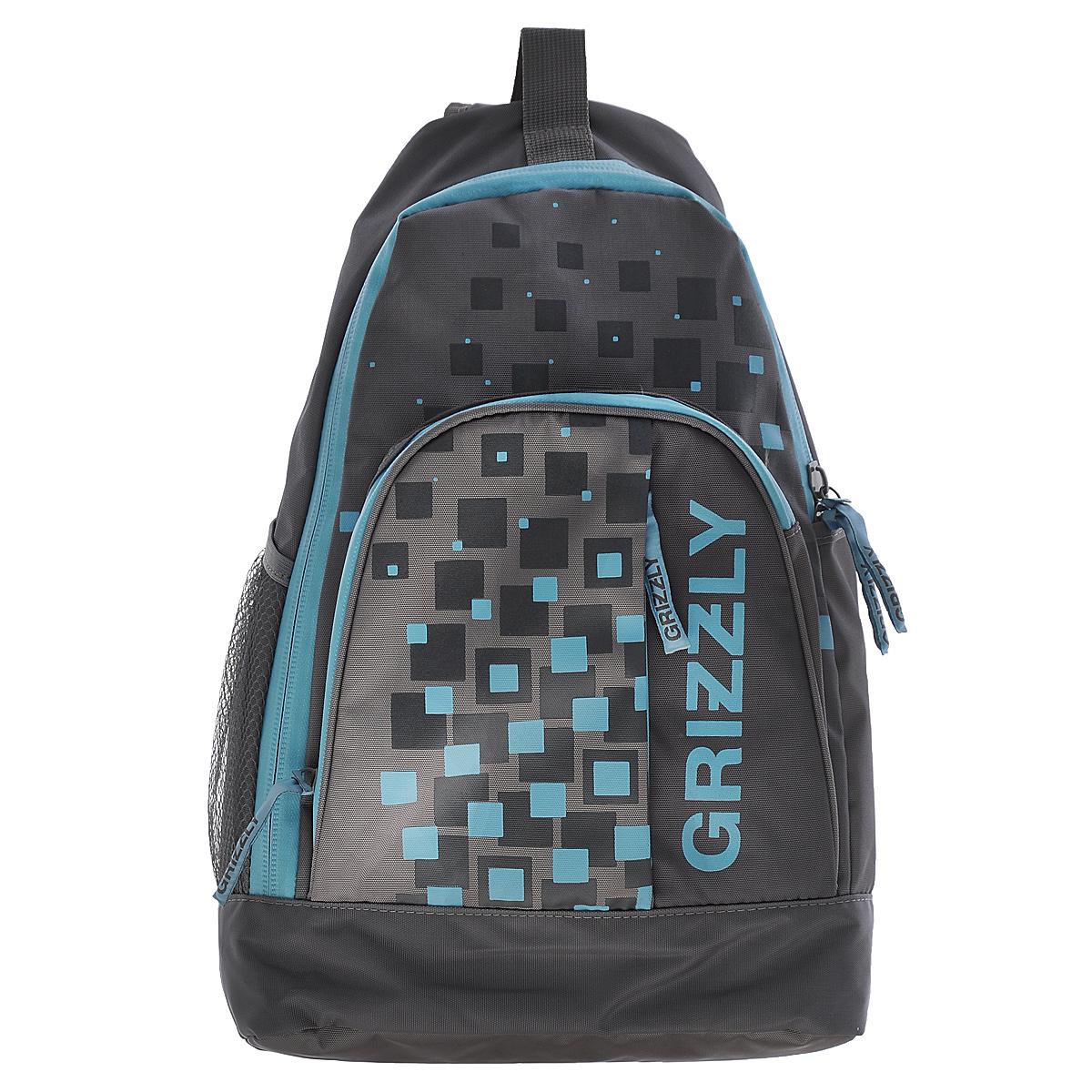 Рюкзак городской Grizzly, цвет: серый, голубой, 24 л. RU-510-2/1RU-510-2/1Рюкзак Grizzly - это удобный и практичный рюкзак, изготовленный из полиэстера. Рюкзак имеет одно главное отделение, которое закрывается на застежку-молнию. Внутри основного отделения - карман на липучке. По бокам рюкзака - два кармана, один из которых - сетчатый на резинке. На передней панели - вместительный карман на змейке с четырьмя небольшими кармашками внутри для письменных принадлежностей. Также на вместительном кармане расположен еще один потайной карман на змейке.Модель имеет укрепленную спинку с мягкой рельефной вставкой и одну лямку, а также ручку-петлю. Лямка оснащена мини-карманом для разных небольших мелочей и аксессуаров. Такой рюкзак - практичное и стильное приобретение на каждый день.