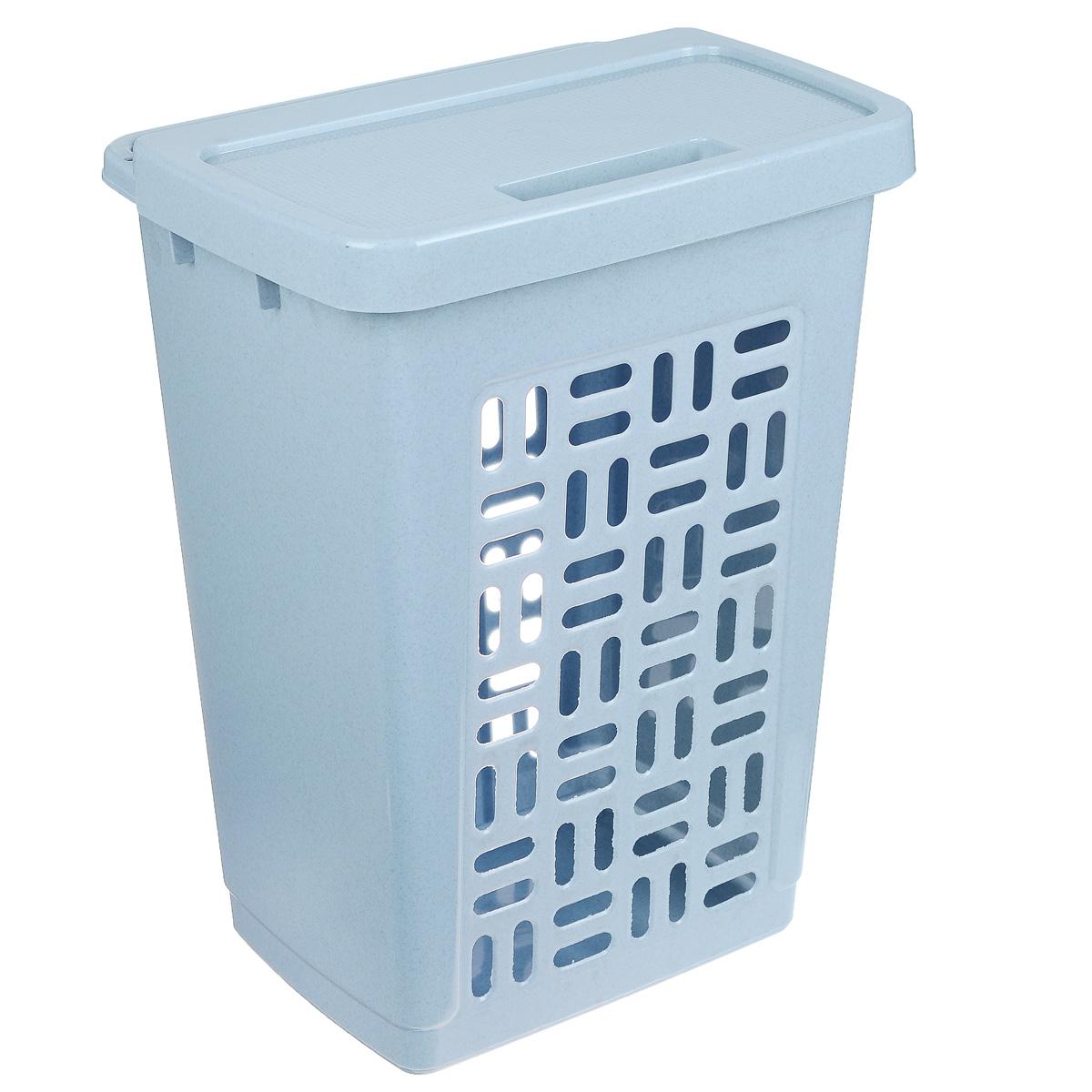 Корзина для белья Idea, цвет: голубой мрамор, 60 лМ 2610Вместительная корзина для белья Idea изготовлена из прочного пластика. Она отлично подойдет для хранения белья перед стиркой. Специальные отверстия на стенках создают идеальные условия для проветривания. Изделие оснащено крышкой. Такая корзина для белья прекрасно впишется в интерьер ванной комнаты.