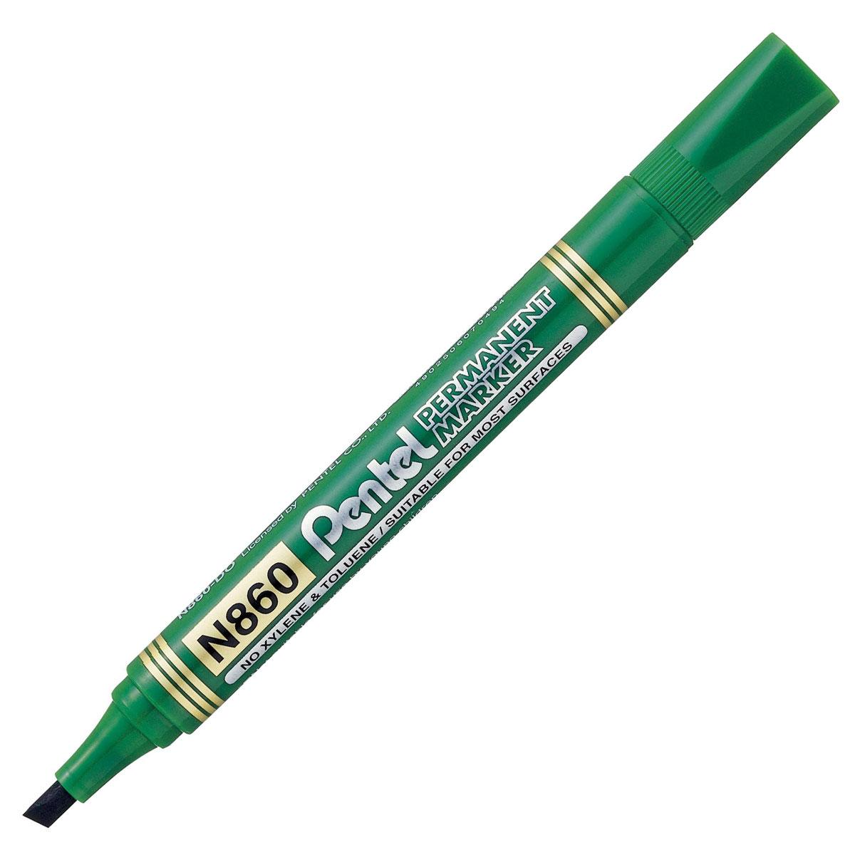 Pentel Маркер перманентный Chisel Point, цвет: зеленыйPN860-DМаркер перманентный Pentel Chisel Point со скошенным наконечником позволяет проводить линии шириной от 1.8 до 4.5 мм. Маркер заправлен перманентными чернилами, они быстро высыхают, чернила свето- и влагостойкие. Надписи, сделанные этим маркером, устойчивы к истиранию. Подходит для маркирования на бумаге, картоне, пластике, стекле и металле.