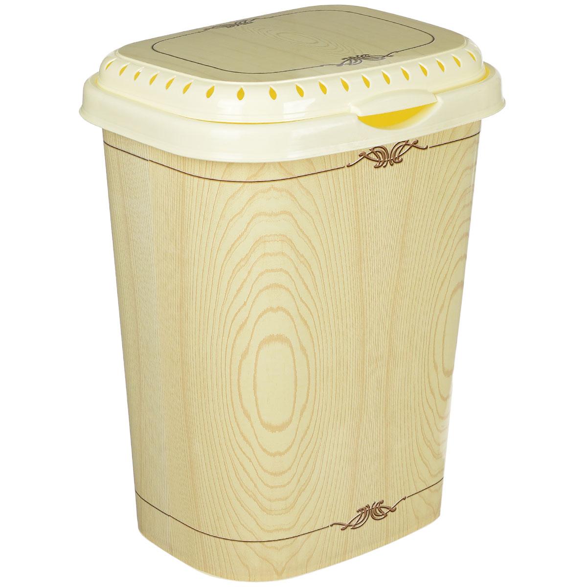 Корзина для белья Violet Беленый дуб с крышкой, цвет: слоновая кость, коричневый, 55 л1960/91Легкая и удобная корзина Violet Беленый дуб прямоугольной формы изготовлена из пластика. Она отлично подойдет для хранения белья перед стиркой. Сплошные стенки с небольшими отверстиями на крышке скрывает содержимое корзины от посторонних и создает идеальные условия для проветривания. Изделие оснащено крышкой. Такая корзина для белья прекрасно впишется в интерьер ванной комнаты.