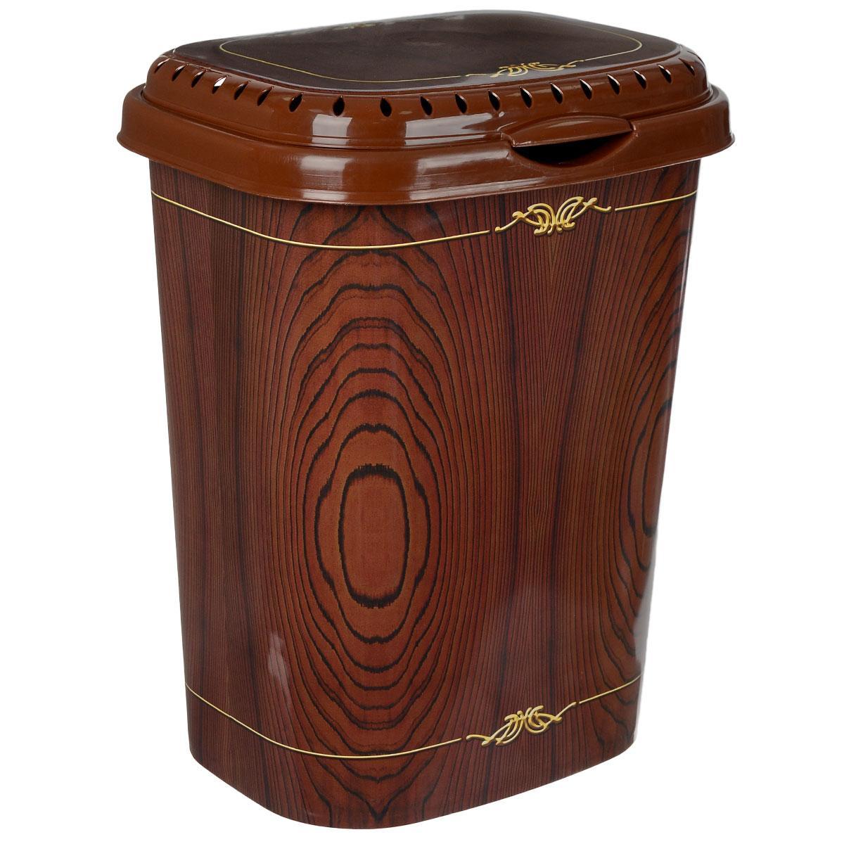 Корзина для белья Violet Дерево с крышкой, цвет: коричневый, желтый, 55 л1960/81Легкая и удобная корзина Violet Дерево прямоугольной формы изготовлена из пластика. Она отлично подойдет для хранения белья перед стиркой. Сплошные стенки с небольшими отверстиями на крышке скрывает содержимое корзины от посторонних и создает идеальные условия для проветривания. Изделие оснащено крышкой. Такая корзина для белья прекрасно впишется в интерьер ванной комнаты.