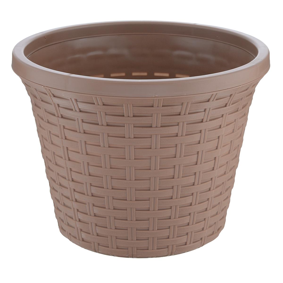 Кашпо Violet Ротанг, с дренажной системой, цвет: какао, 6,5 л32650/17Кашпо Violet Ротанг изготовлено из высококачественного пластика и оснащено дренажной системой для быстрого отведения избытка воды при поливе. Изделие прекрасно подходит для выращивания растений и цветов в домашних условиях. Лаконичный дизайн впишется в интерьер любого помещения.Объем: 6,5 л.